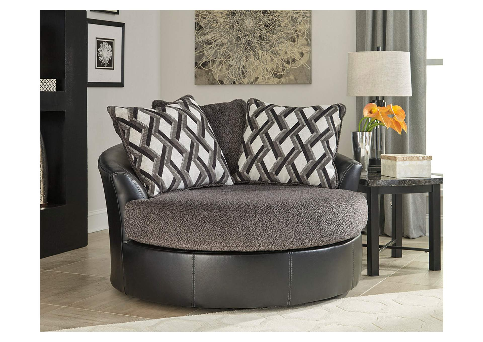 Furniture Weekend Plus Kumasi Smoke Oversized Swivel Accent