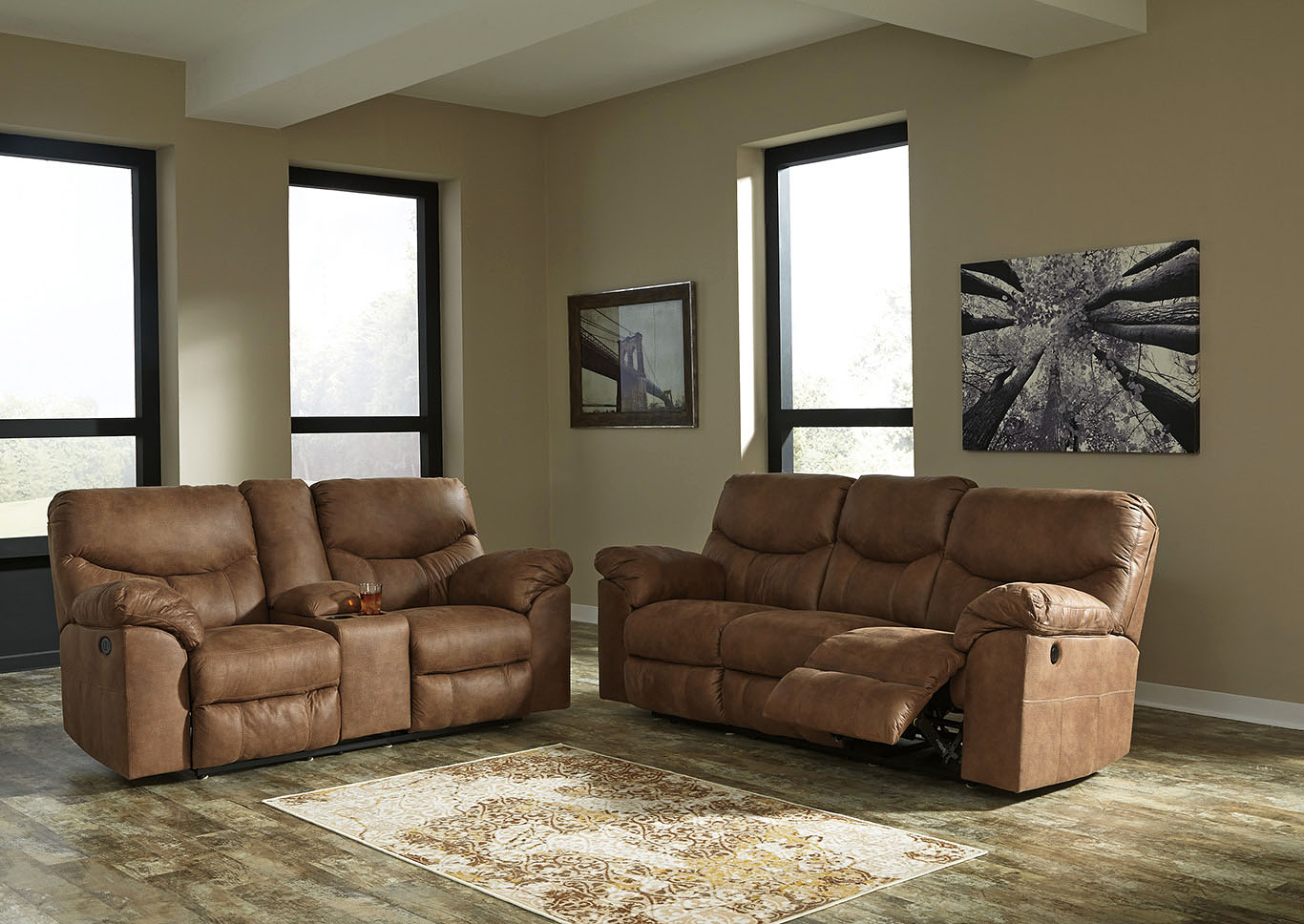 Boxberg Bark Reclining Power Sofa & Double Reclining Power Loveseat w/Console,Signature Design By Ashley