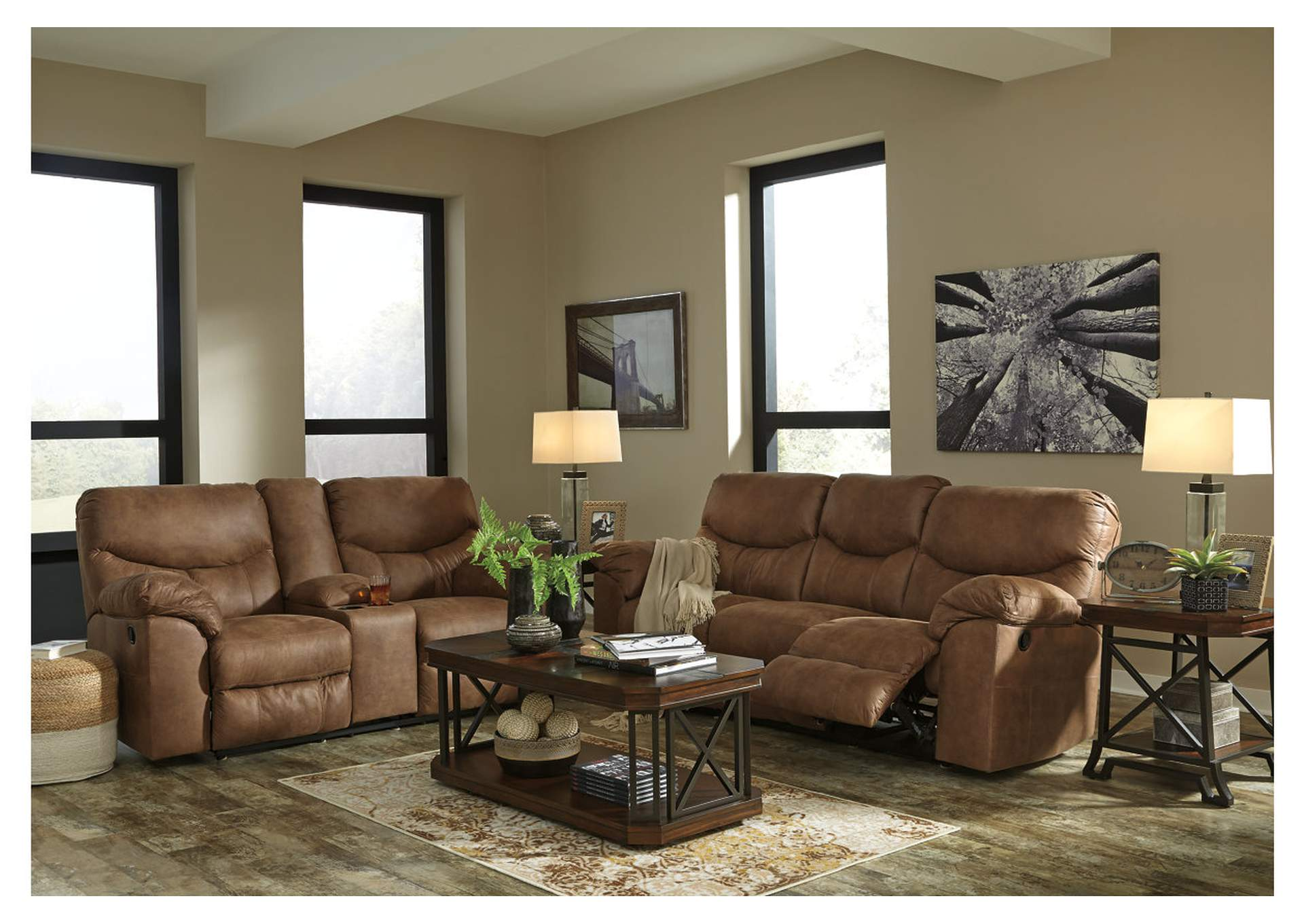 Boxberg Bark Reclining Sofa & Double Reclining Loveseat w/Console,Signature Design By Ashley