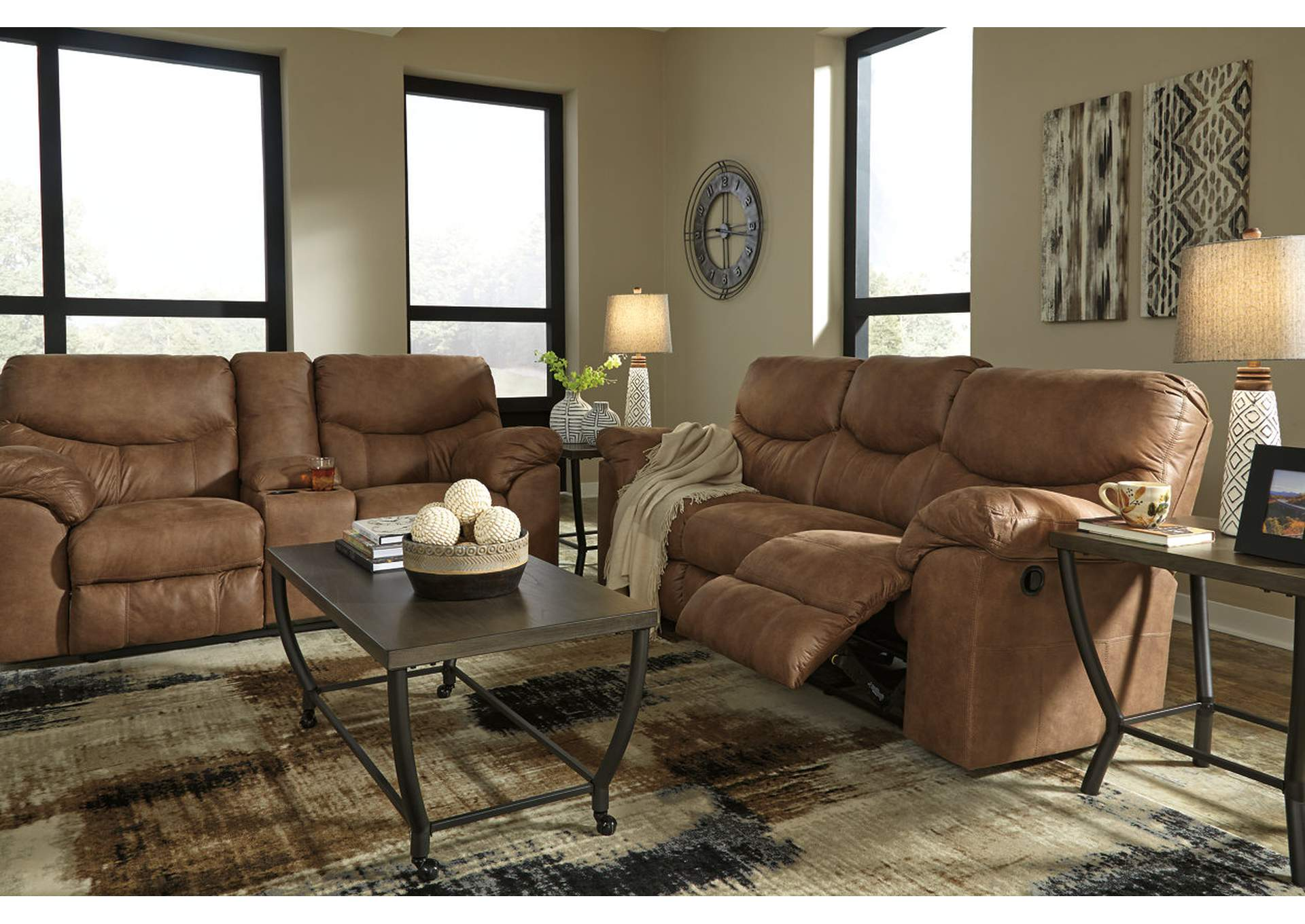 Boxberg Bark Double Reclining Loveseat w/Console,Signature Design By Ashley