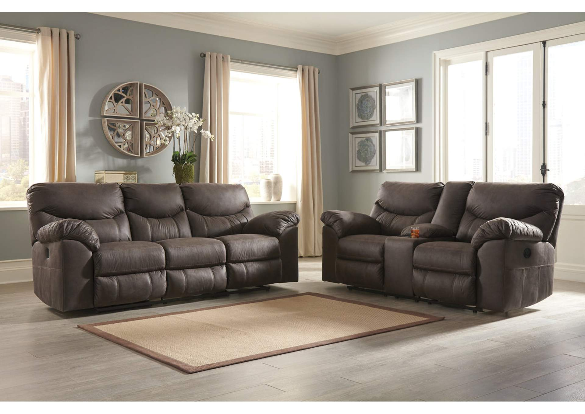 Boxberg Teak Reclining Power Sofa & Double Reclining Power Loveseat w/Console,Signature Design By Ashley