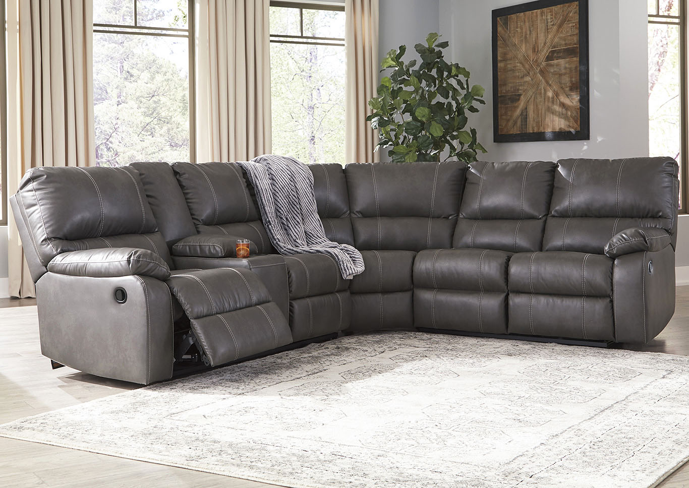 Home Furnishings Depot Ny Warstein Gray Power Reclining Sectional