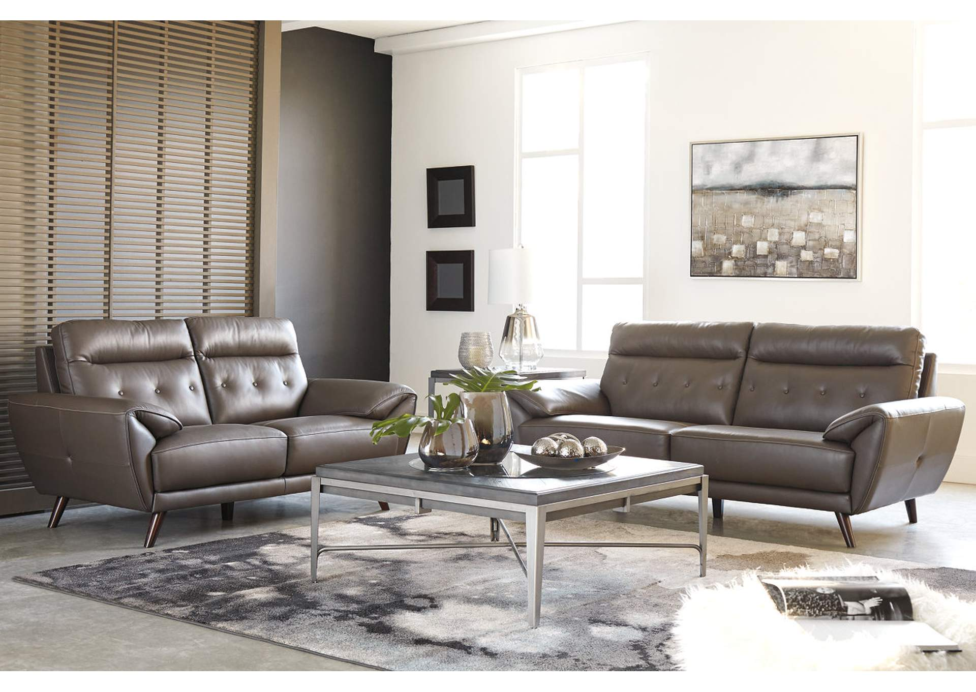 Sissoko Gray Leather Loveseat,Signature Design By Ashley