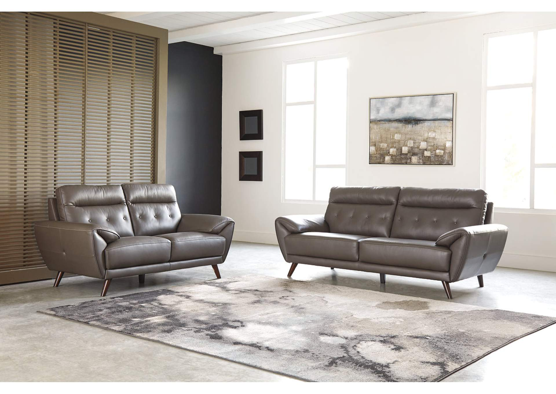 Sissoko Gray Leather Sofa and Loveseat,Signature Design By Ashley