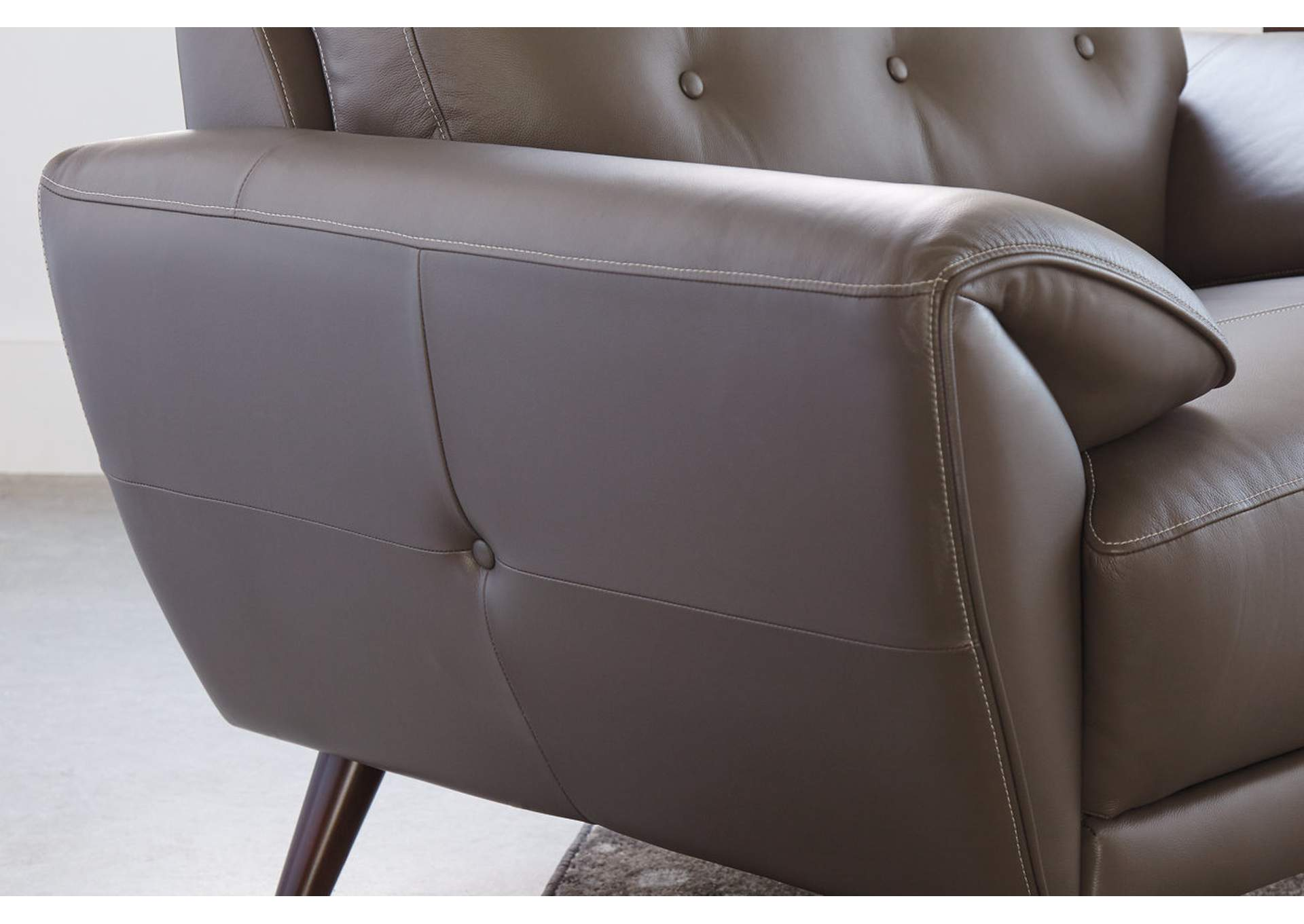 Sissoko Gray Leather Sofa,Signature Design By Ashley