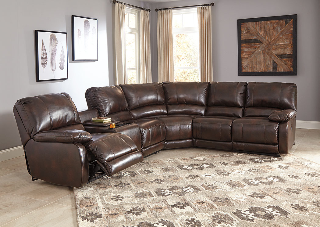 Hallettsville Saddle Left Facing Double Power Reclining Loveseat Sectional  W/Storage Console,Signature Design