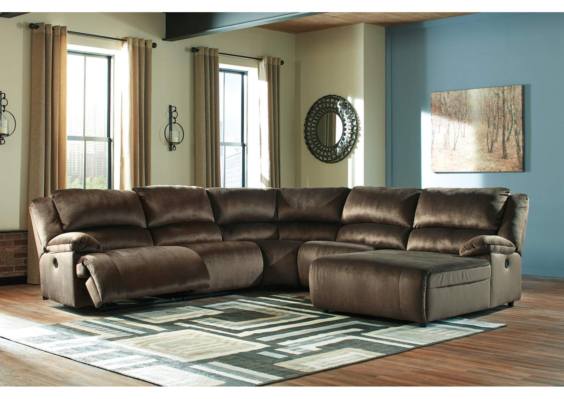 Clonmel Chocolate RAF Power Chaise Sectional,Signature Design By Ashley