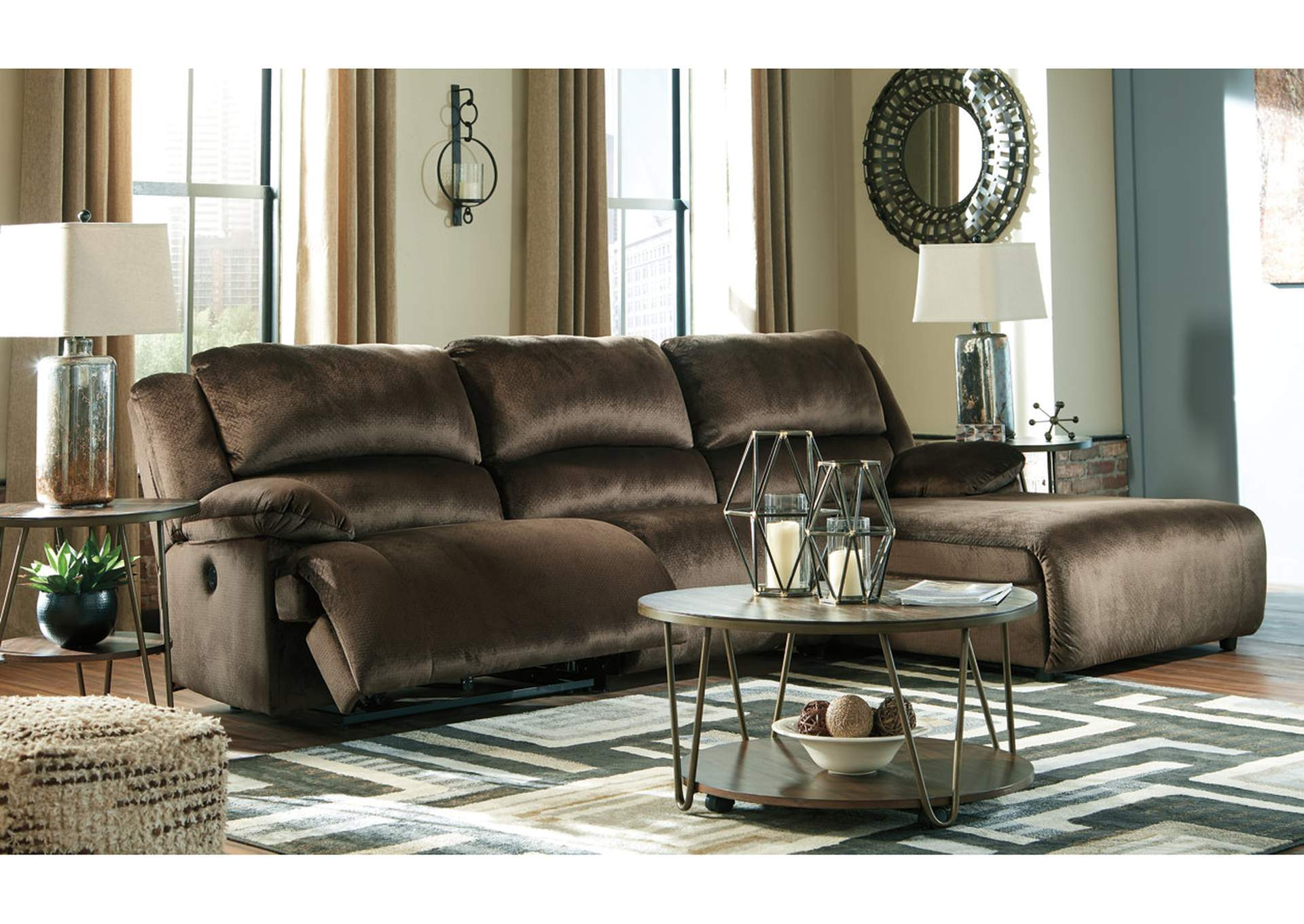 Clonmel Chocolate 3 Piece RAF Chaise Sectional,Signature Design By Ashley