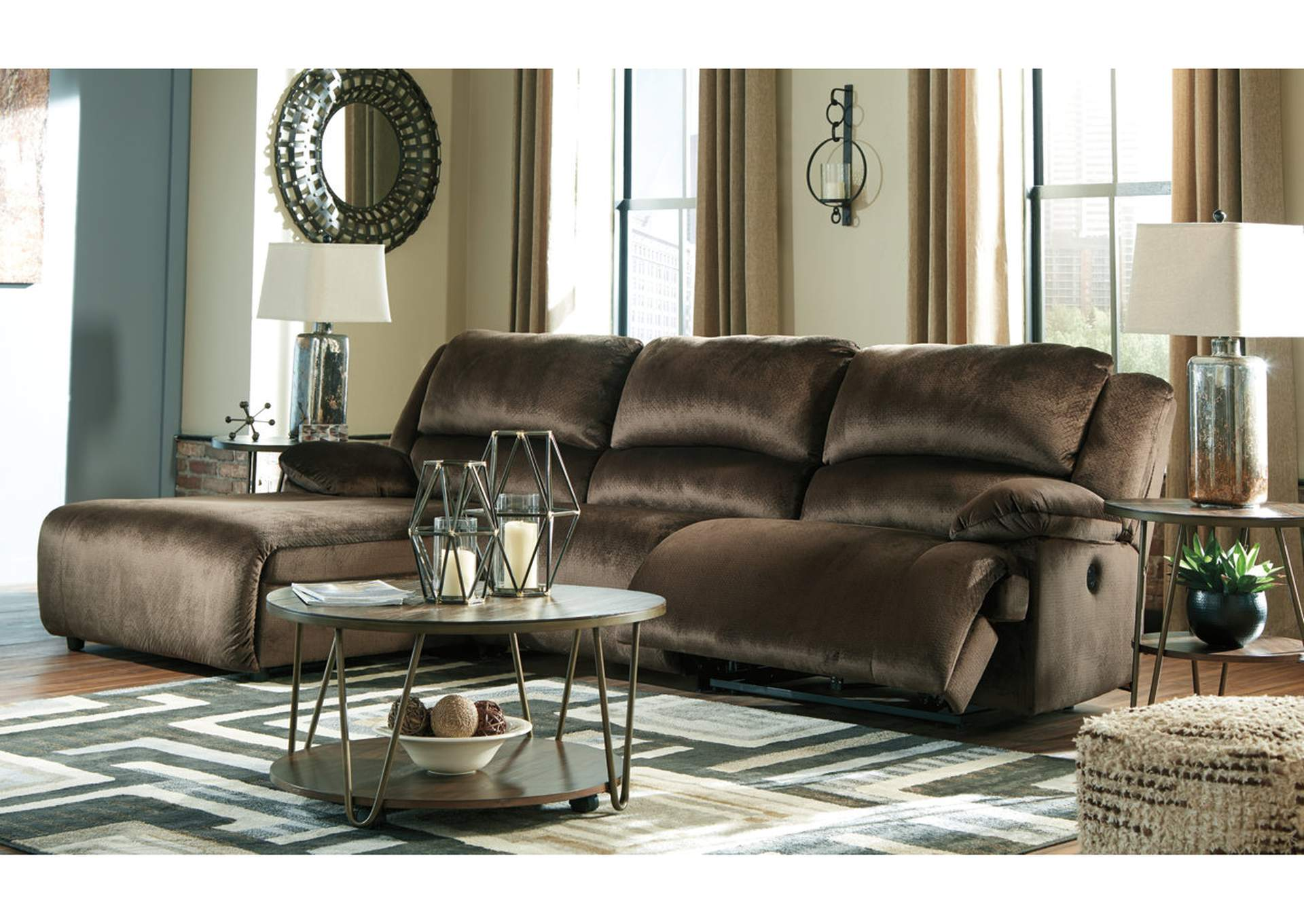 Clonmel Chocolate 3 Piece LAF Chaise Sectional,Signature Design By Ashley