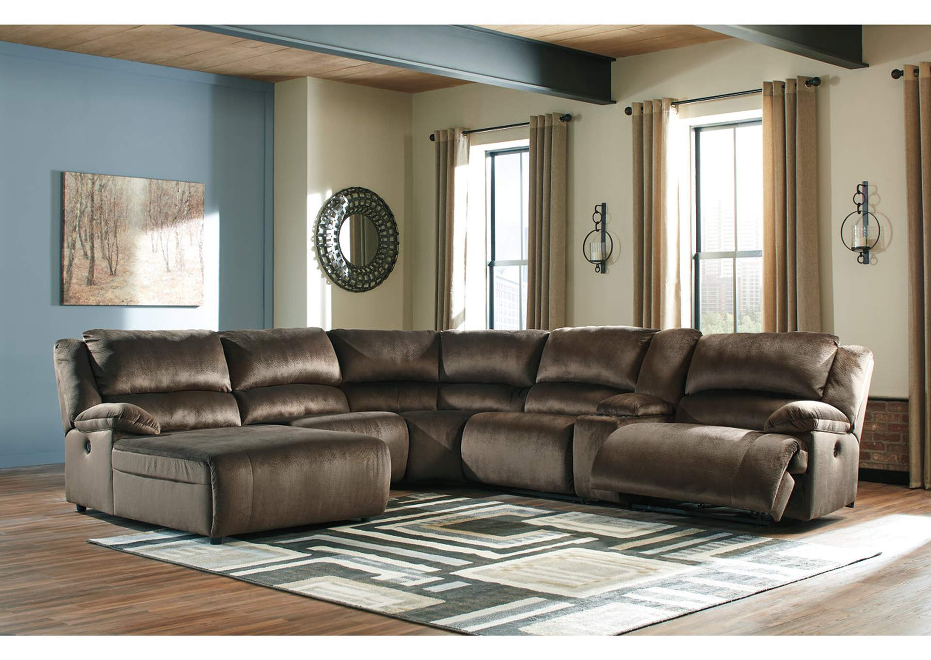 Clonmel Chocolate LAF Chaise Sectional w/Console,Signature Design By Ashley