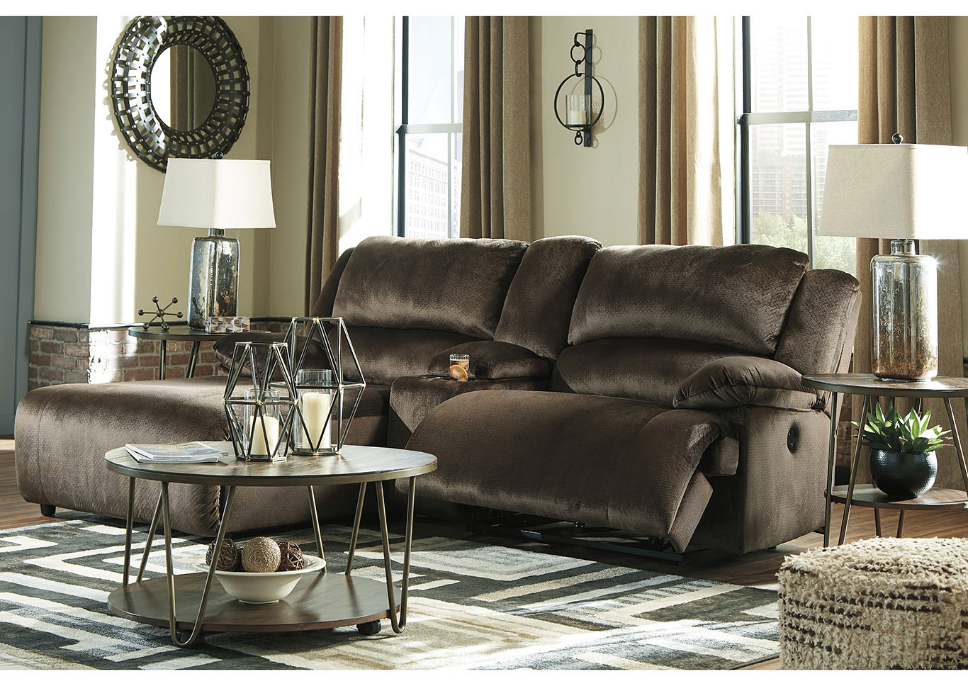 Clonmel Chocolate 3 Piece LAF Chaise Sectional w/Console,Signature Design By Ashley