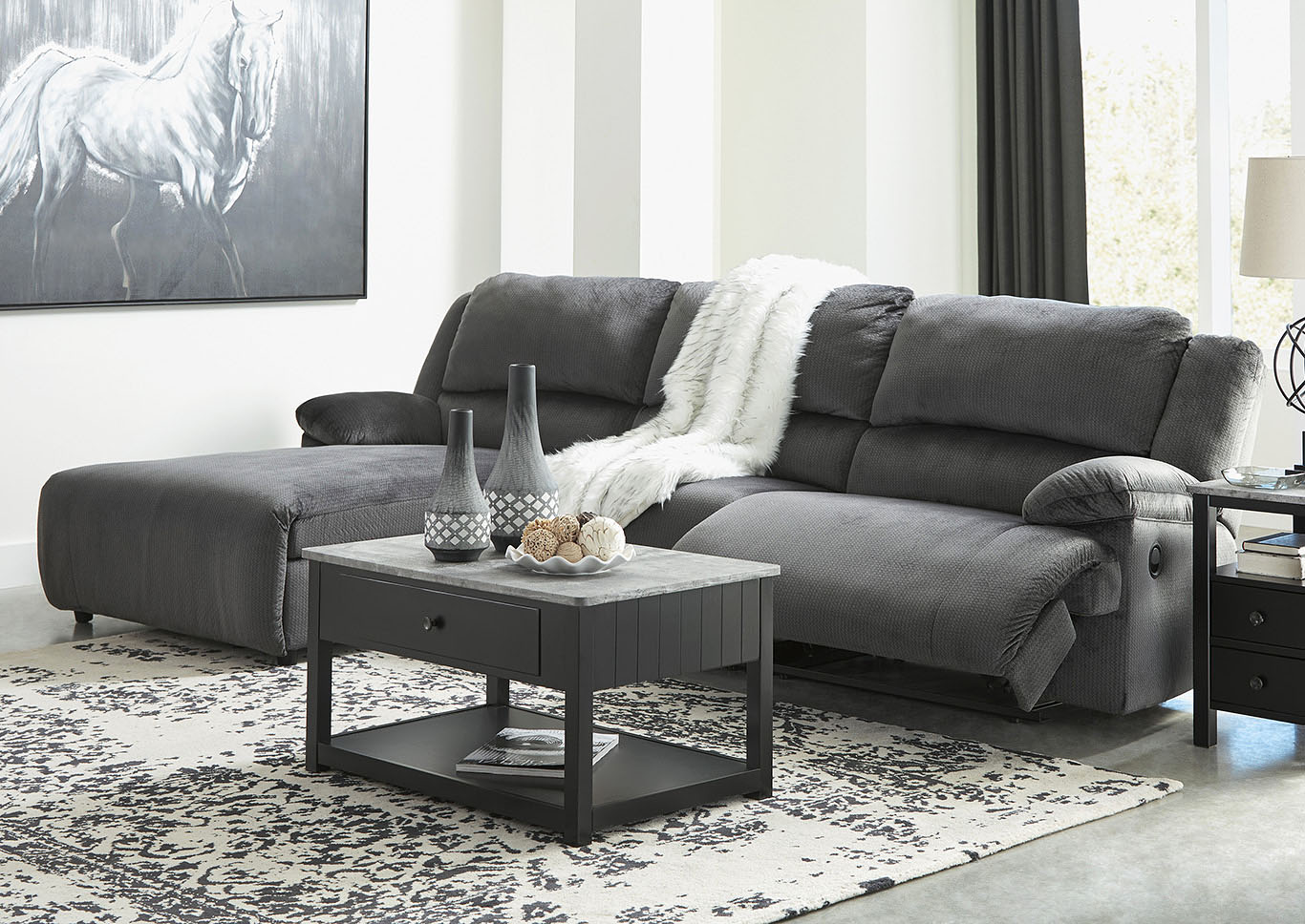 Clonmel Charcoal 3 Piece LAF Power Chaise Sectional,Signature Design By Ashley