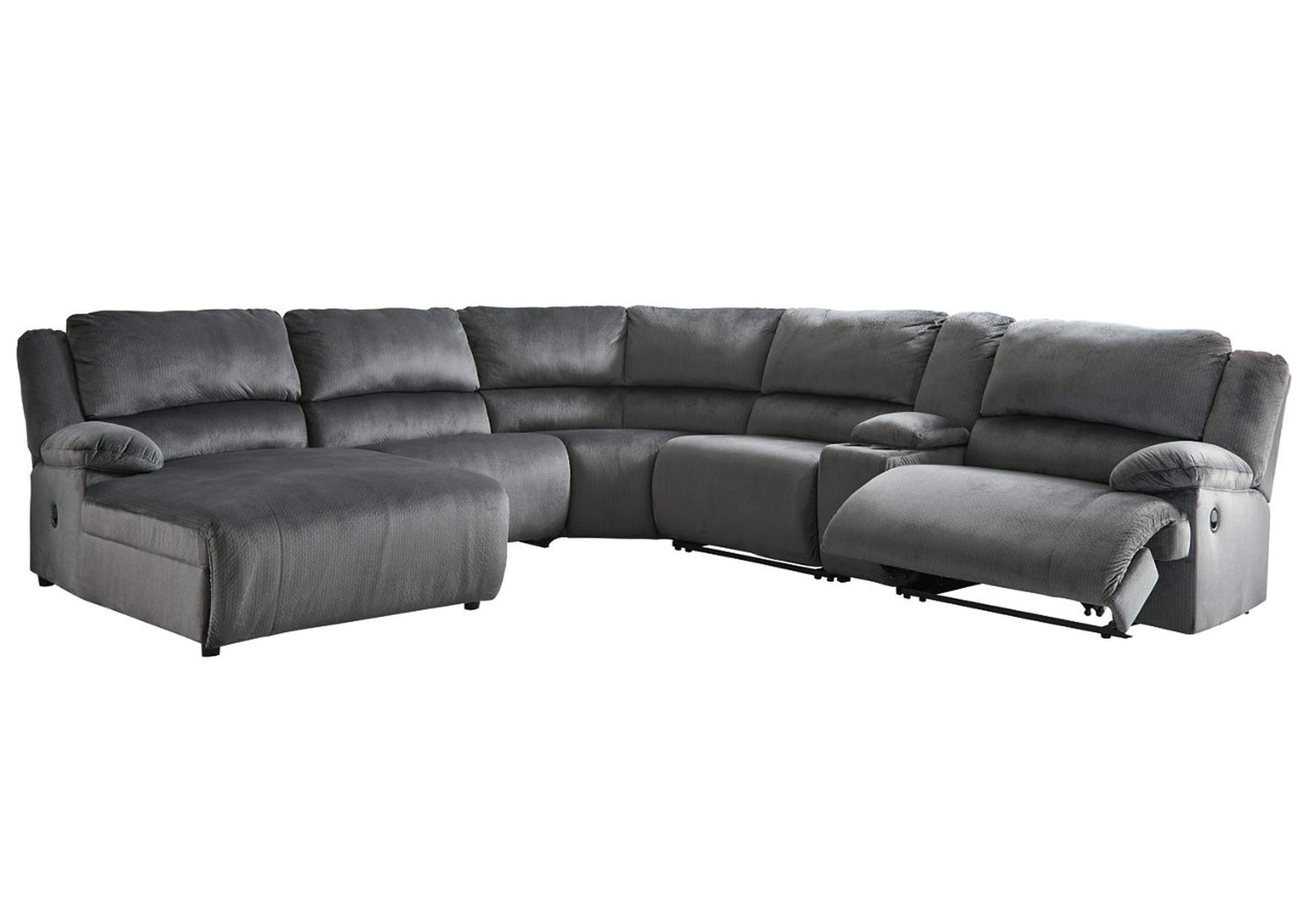 Clonmel Charcoal Reclining LAF Chaise Sectional w/Console,Signature Design By Ashley