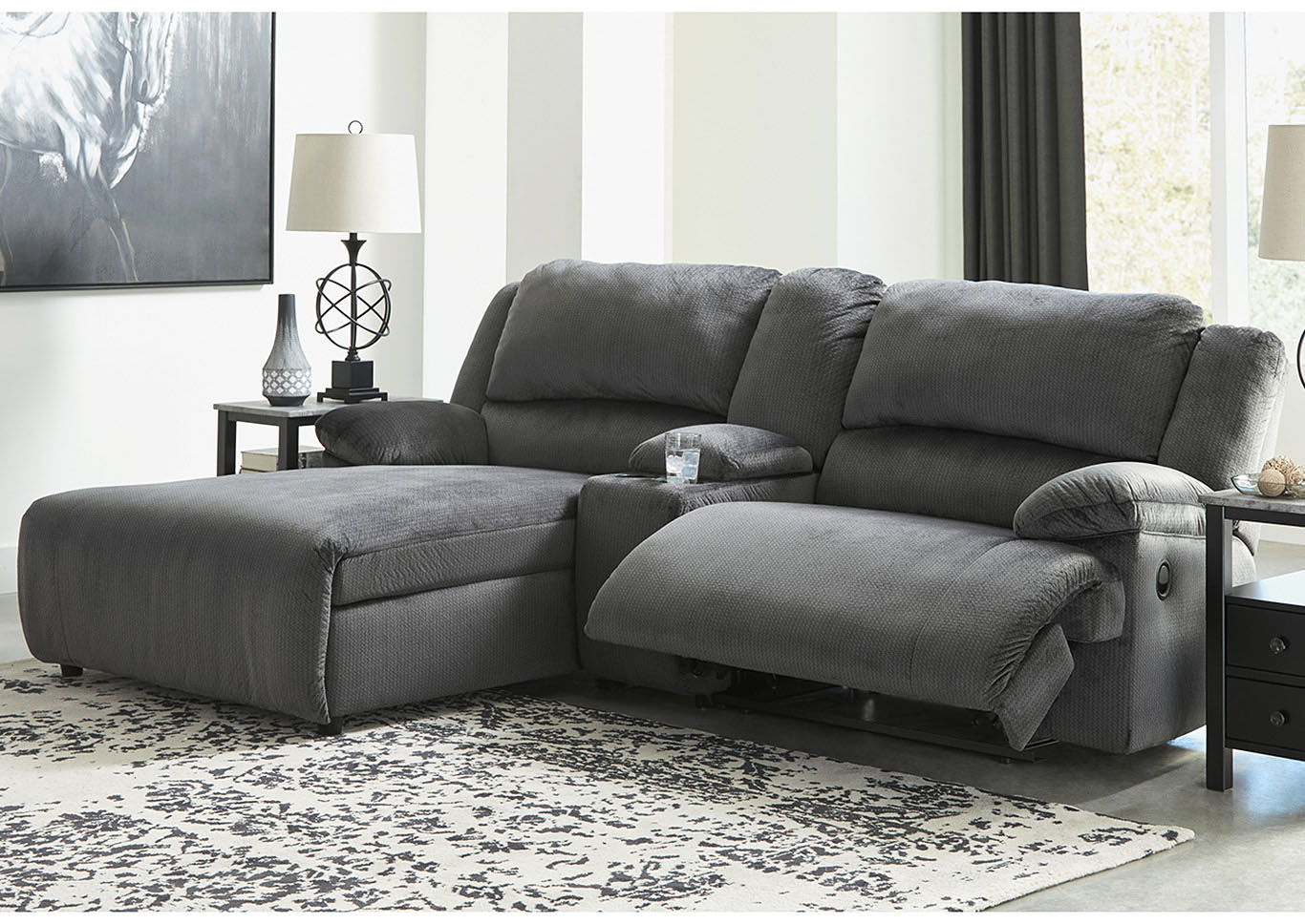 Clonmel Charcoal 3 Piece LAF Power Chaise Sectional w/Console,Signature Design By Ashley