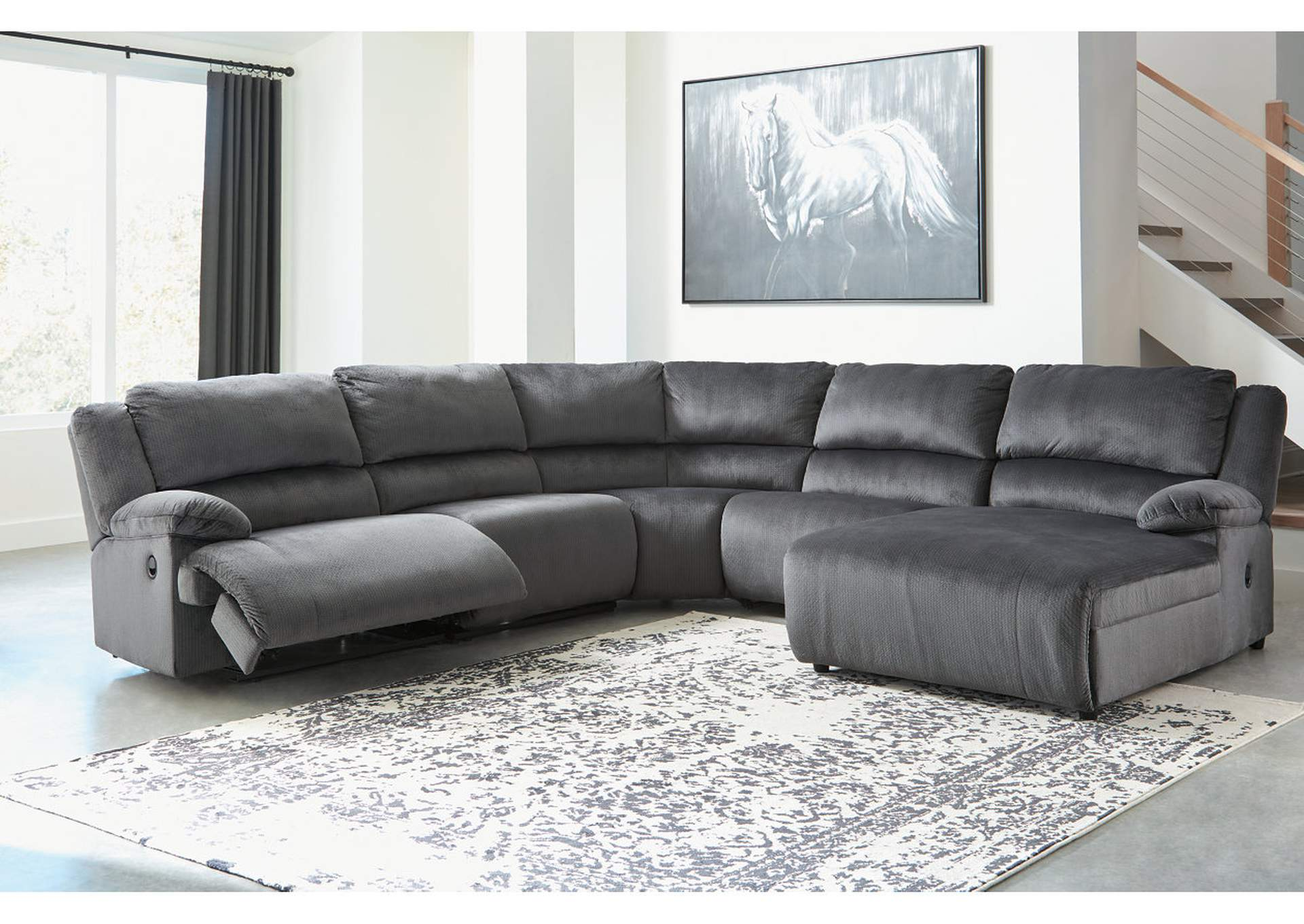 Strange Ivan Smith Clonmel Charcoal Reclining Raf Chaise Sectional Gmtry Best Dining Table And Chair Ideas Images Gmtryco