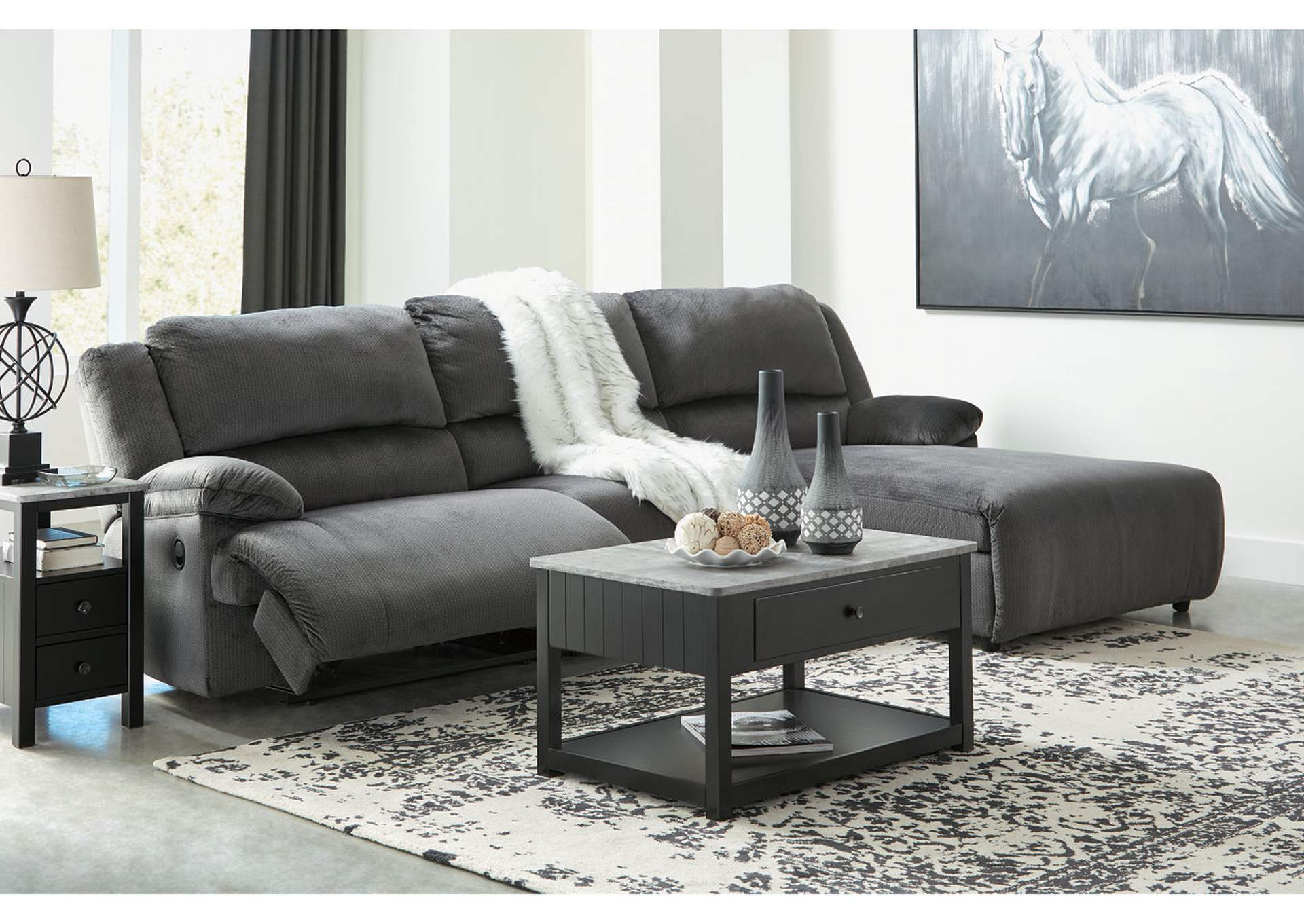 Clonmel Charcoal 3 Piece RAF Chaise Sectional,Signature Design By Ashley