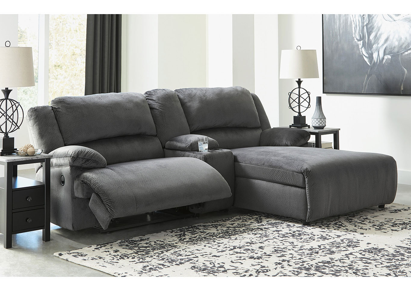 Clonmel Charcoal 3 Piece RAF Power Chaise Sectional w/Console,Signature Design By Ashley