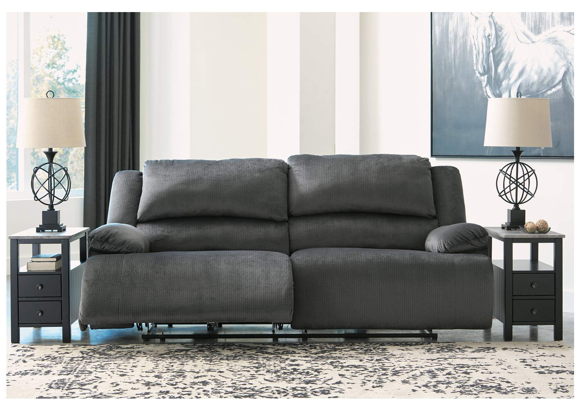 Clonmel Charcoal 2 Seat Reclining Sofa,Signature Design By Ashley