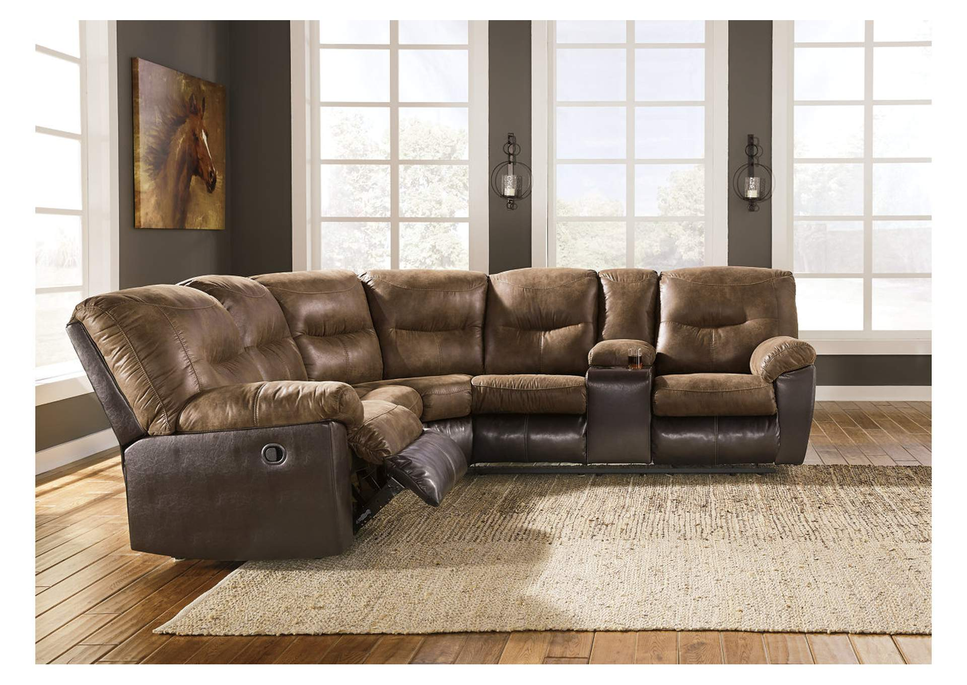 Leonberg Coffee Reclining Sectional,Signature Design By Ashley