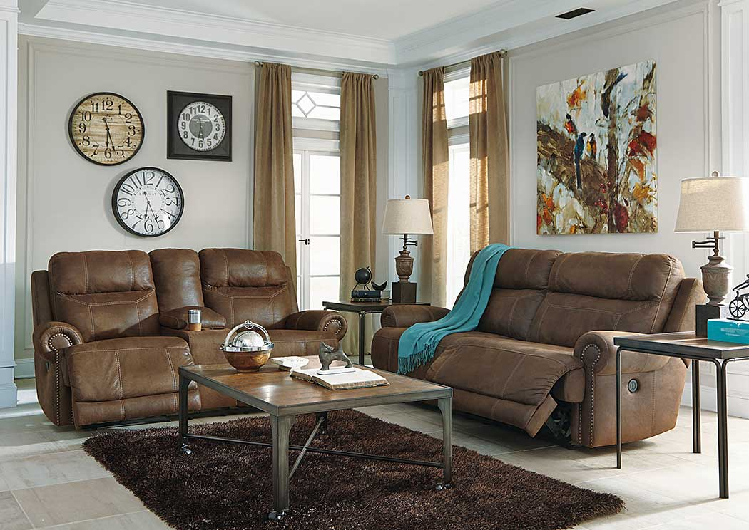 Austere Brown 2 Seat Power Reclining Power Sofa & Loveseat,Signature Design By Ashley