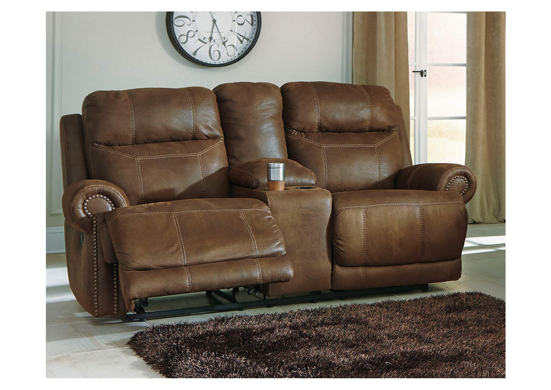 Austere Brown Double Reclining Loveseat w/ Console,Signature Design By Ashley