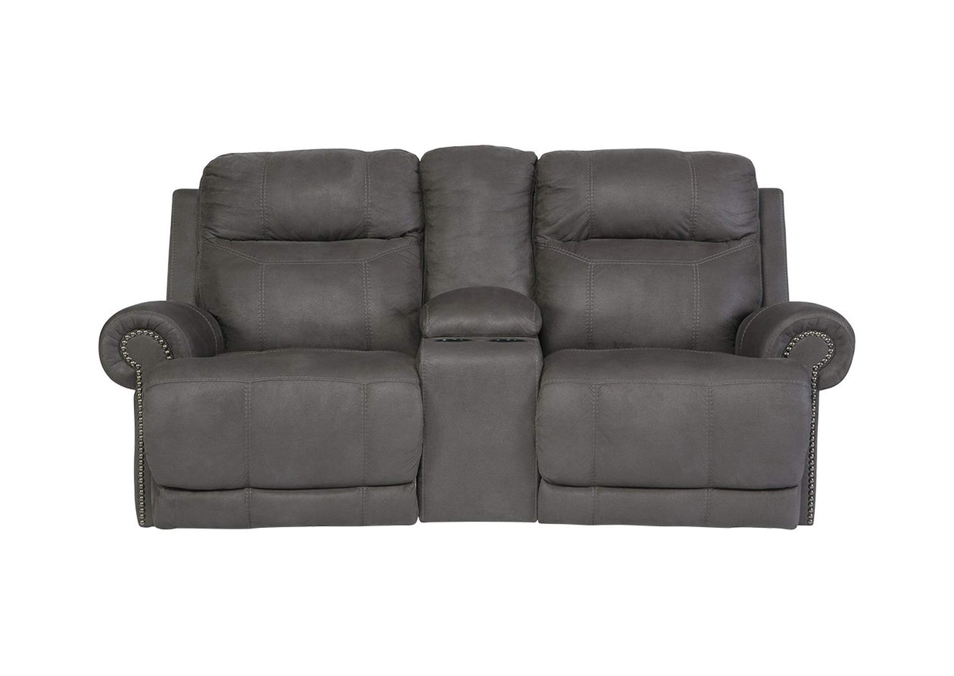 Austere Gray Double Reclining Power Loveseat w/ Console,Signature Design By Ashley