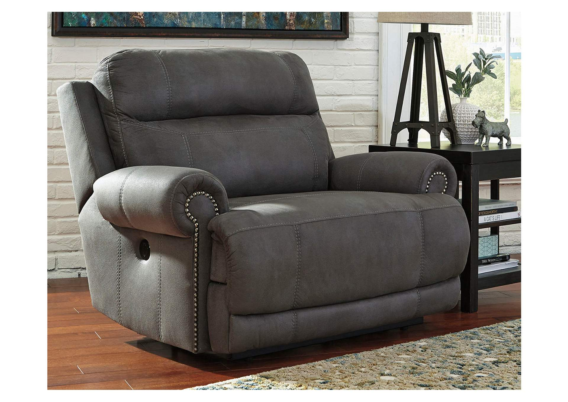 Austere Gray Zero Wall Power Wide Recliner,Signature Design By Ashley