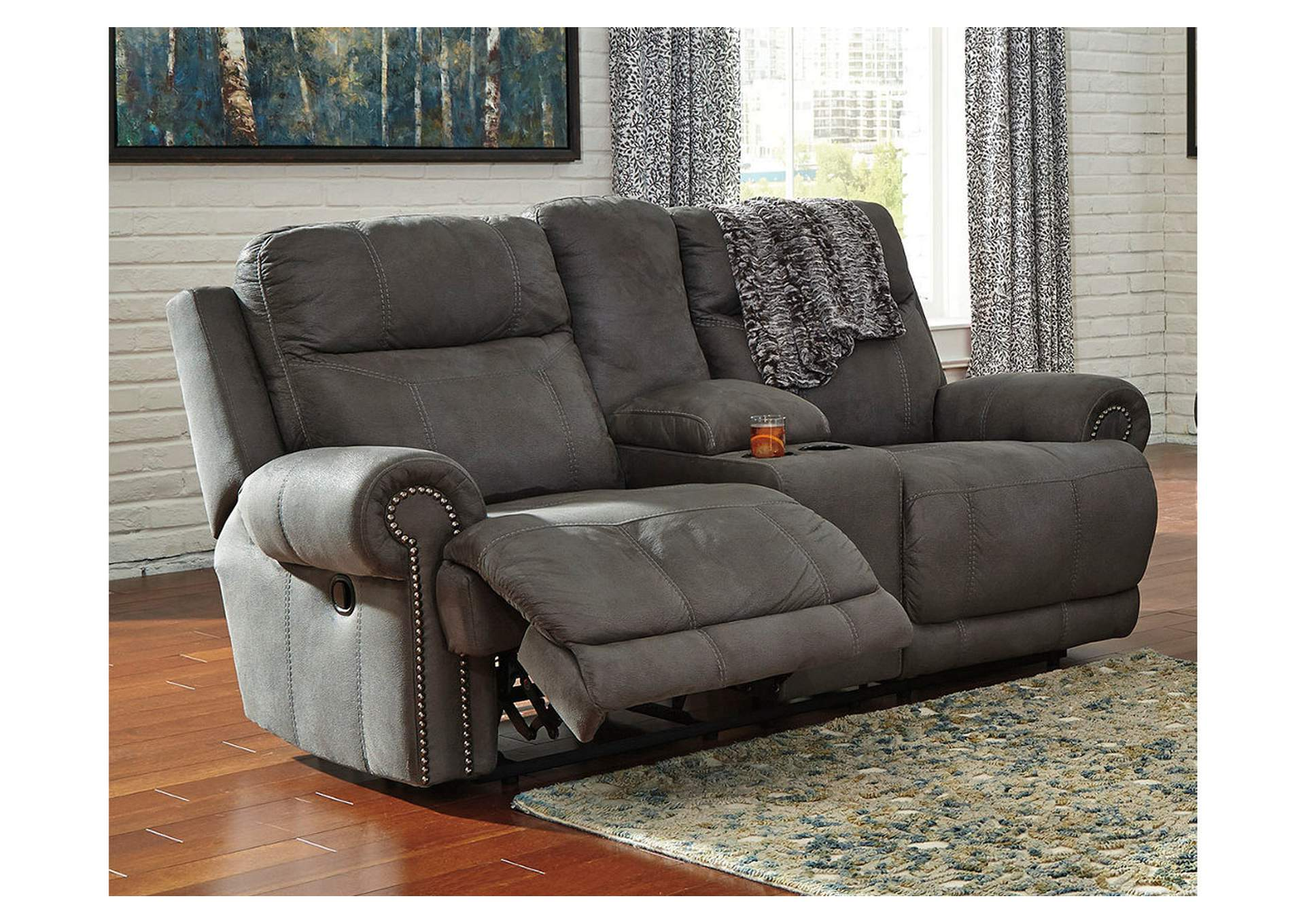 Austere Gray Double Reclining Loveseat w/ Console,Signature Design By Ashley