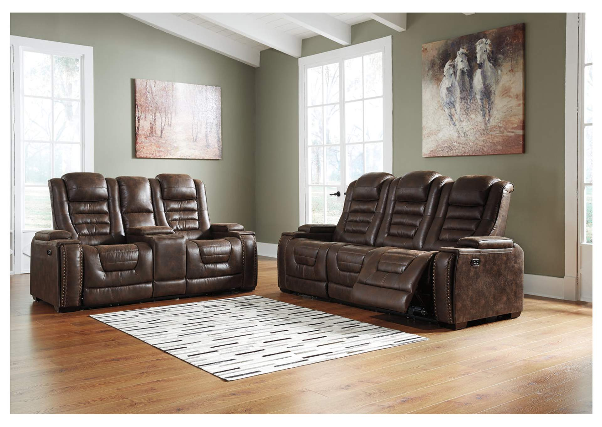 Game Zone Power Reclining Sofa & Loveseat w/Adjustable Headrest,Signature Design By Ashley