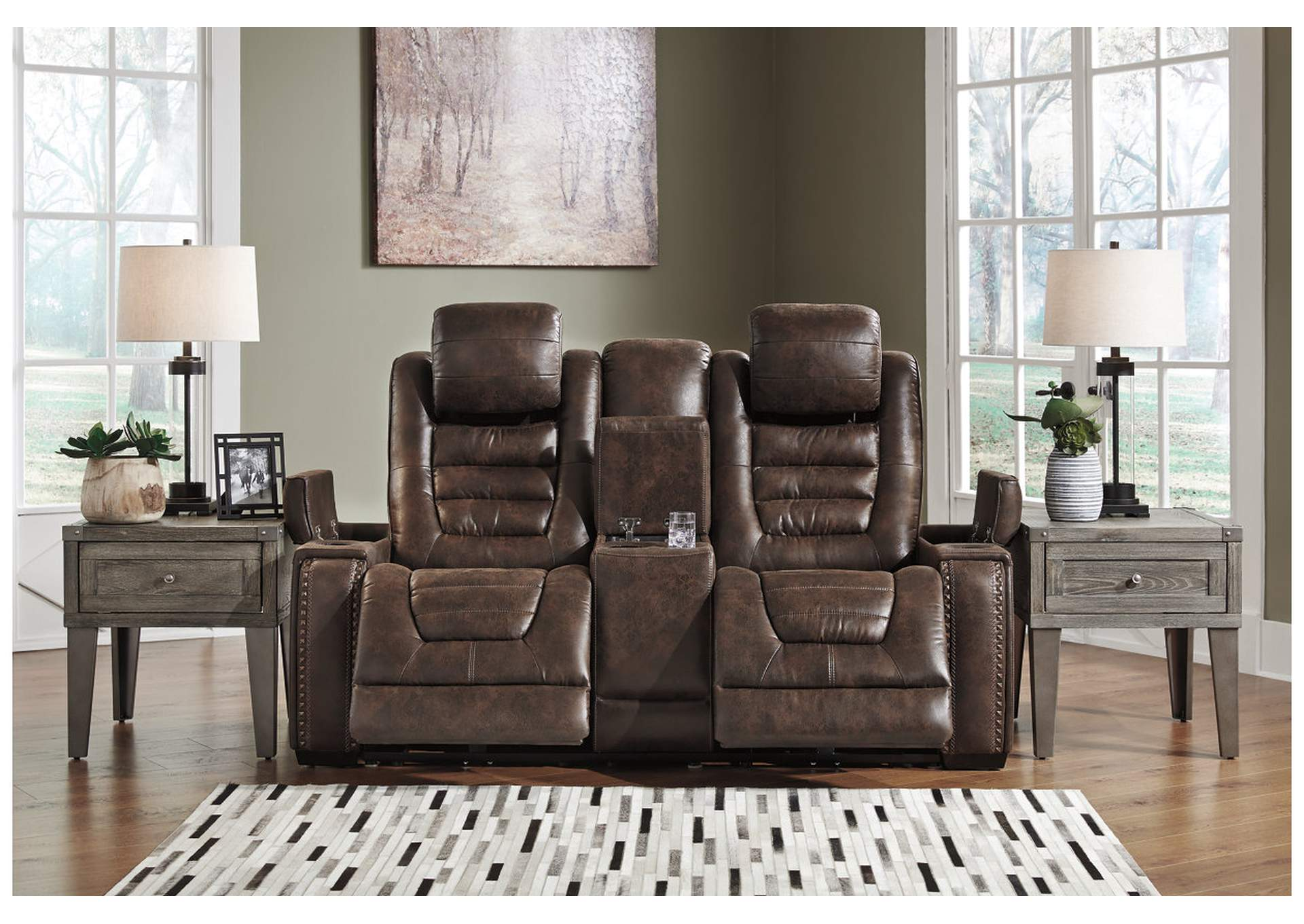 Game Zone Power Reclining Loveseat w/Adjustable Headrest & Console,Signature Design By Ashley