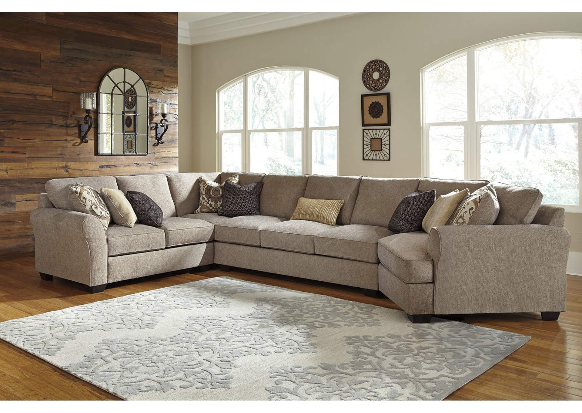 Pantomine Driftwood Left Facing Loveseat w/Sofa and Right Facing Cuddler,Benchcraft
