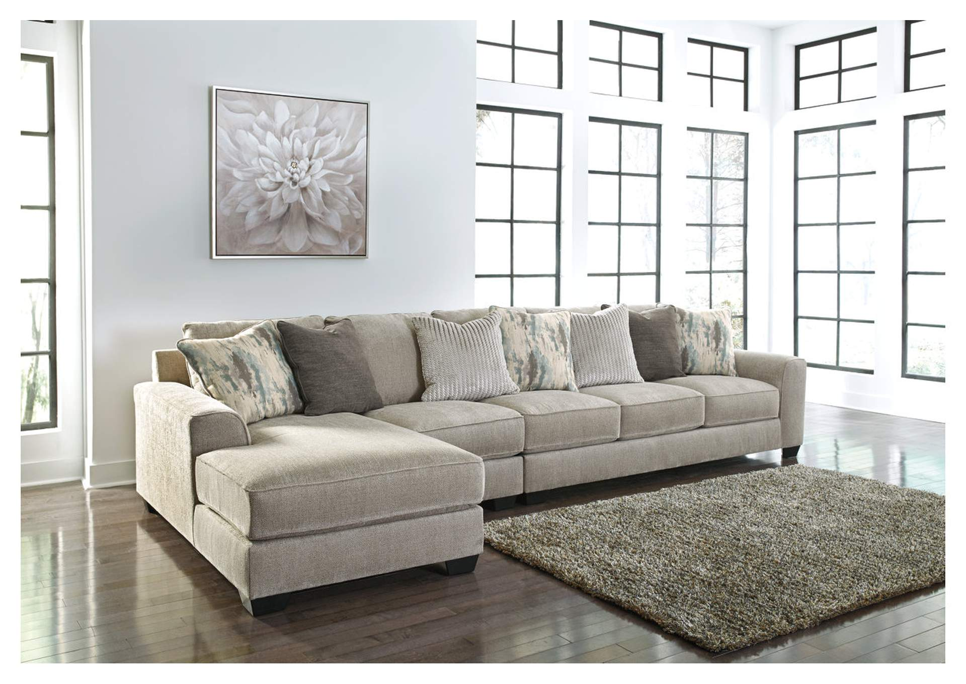 Ardsley Pewter 3 Piece LAF Chaise Sectional,Benchcraft