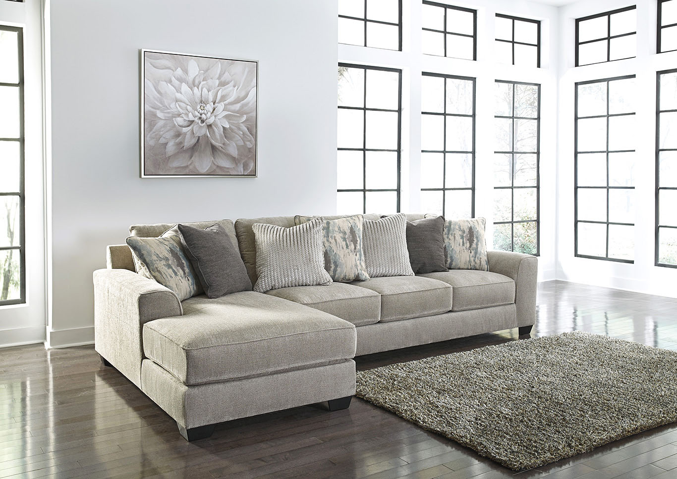 Ardsley Pewter 2 Piece LAF Chaise Sectional,Signature Design By Ashley