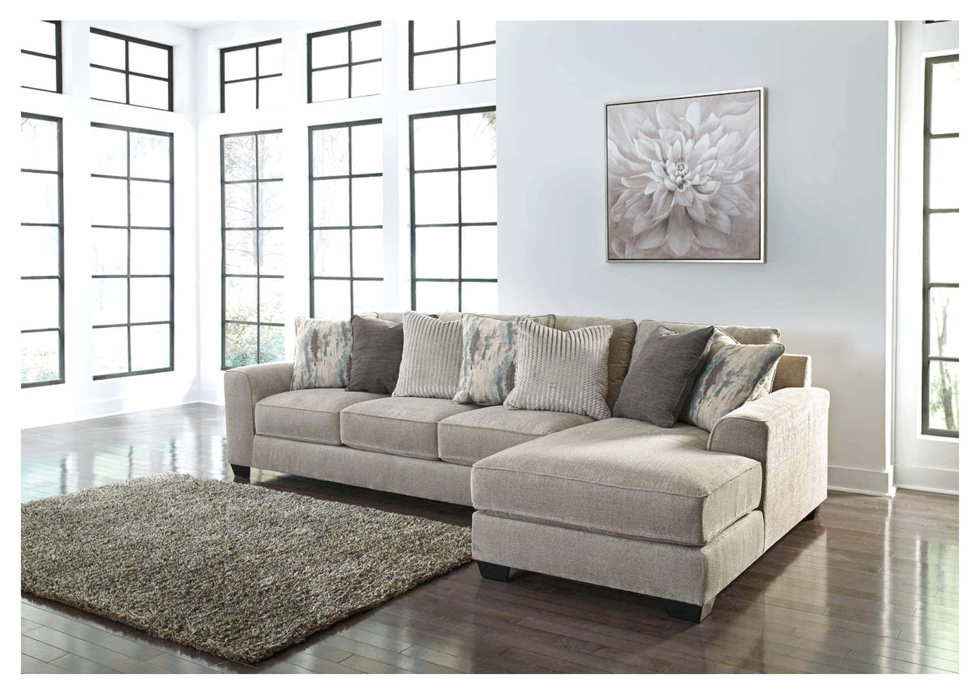 Ardsley Pewter 2 Piece RAF Chaise Sectional,Benchcraft