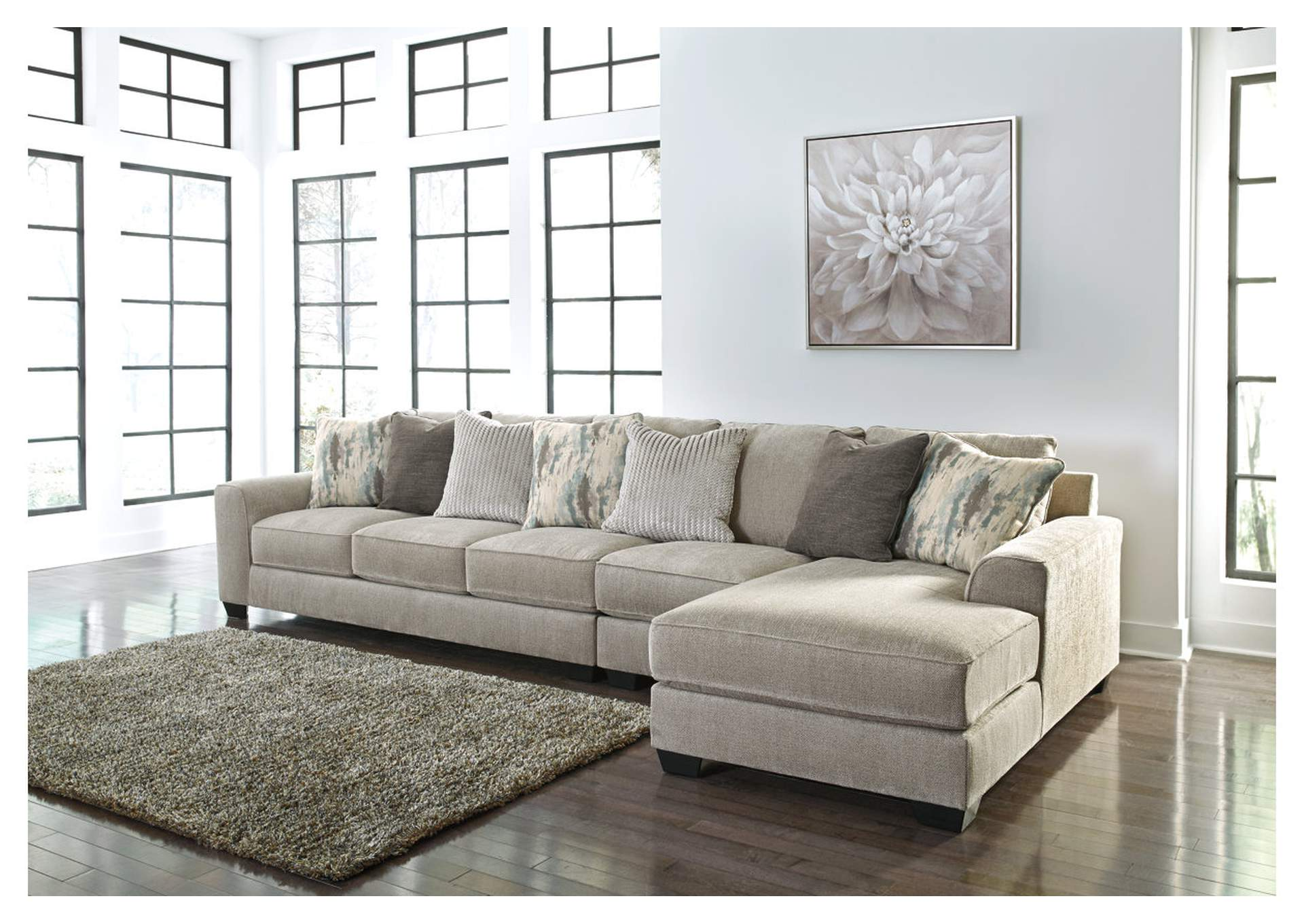 Ardsley Pewter 3 Piece RAF Chaise Sectional,Benchcraft