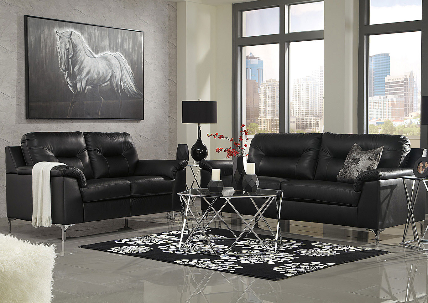 Tensas Black Sofa & Loveseat,Signature Design By Ashley