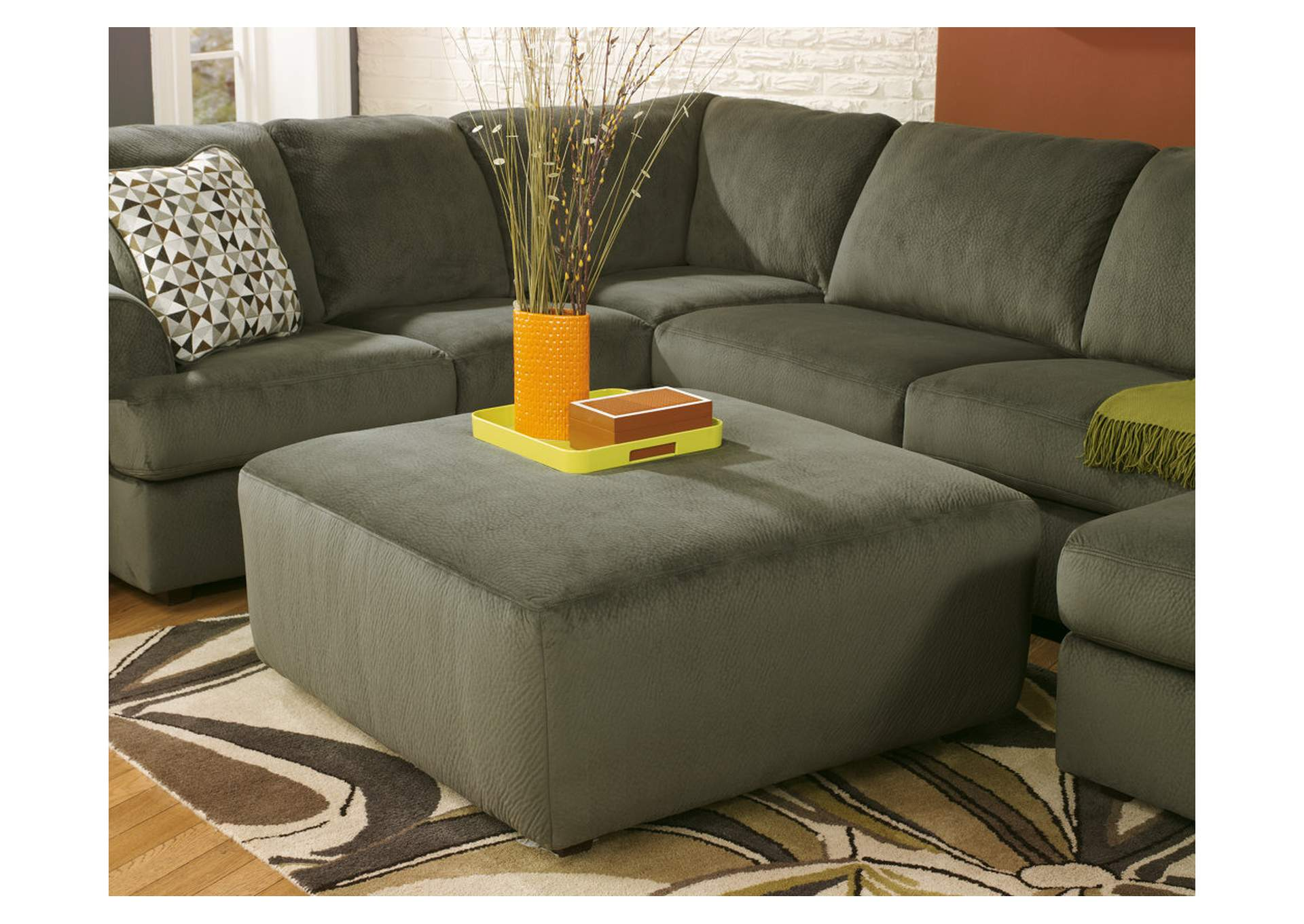 Jessa Place Pewter Oversized Accent Ottoman,Signature Design By Ashley
