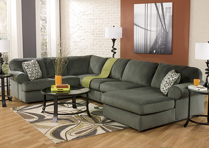 Jessa Place Pewter Right Facing Chaise Sectional,Signature Design By Ashley