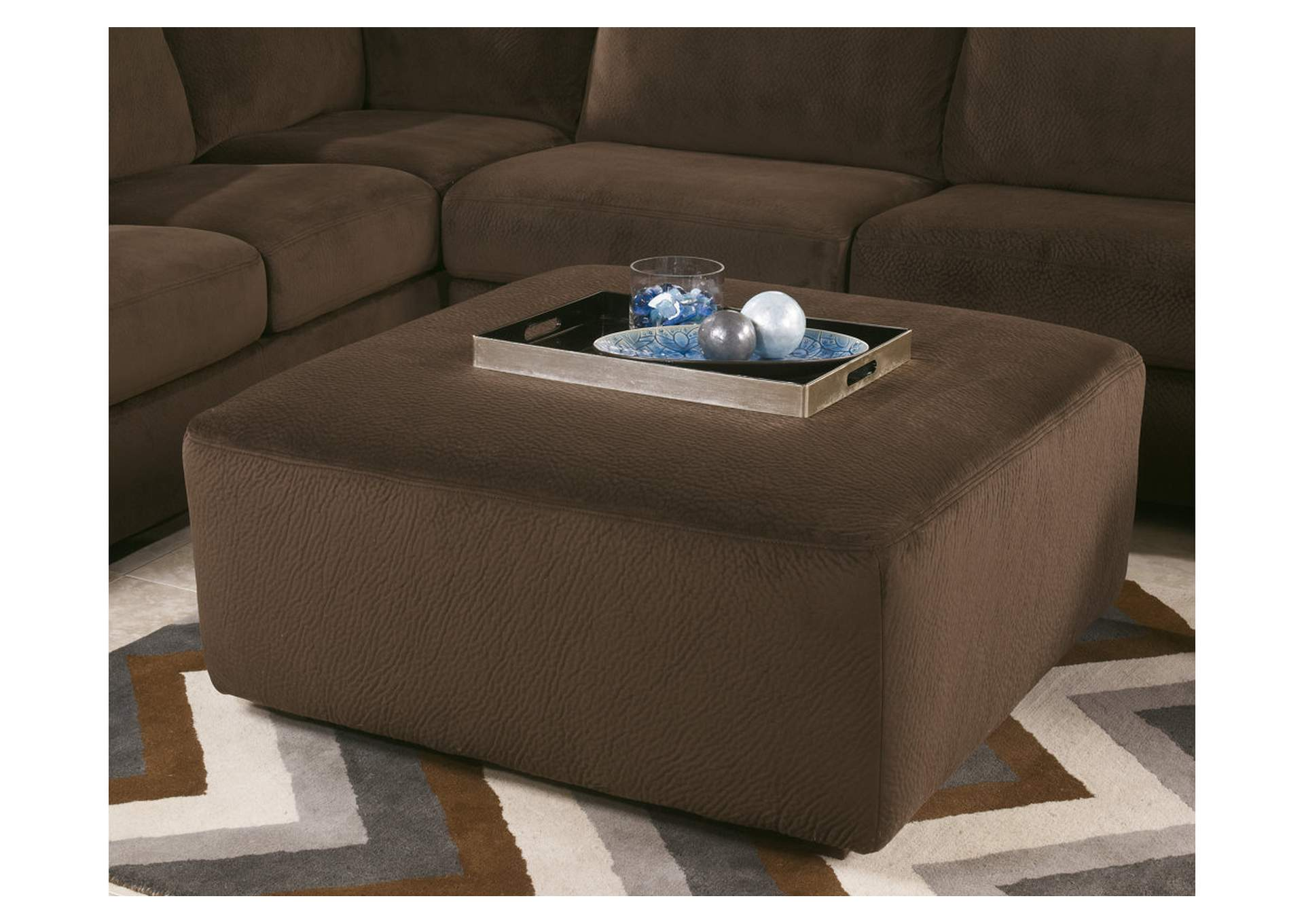 Jessa Place Chocolate Oversized Accent Ottoman,Signature Design By Ashley