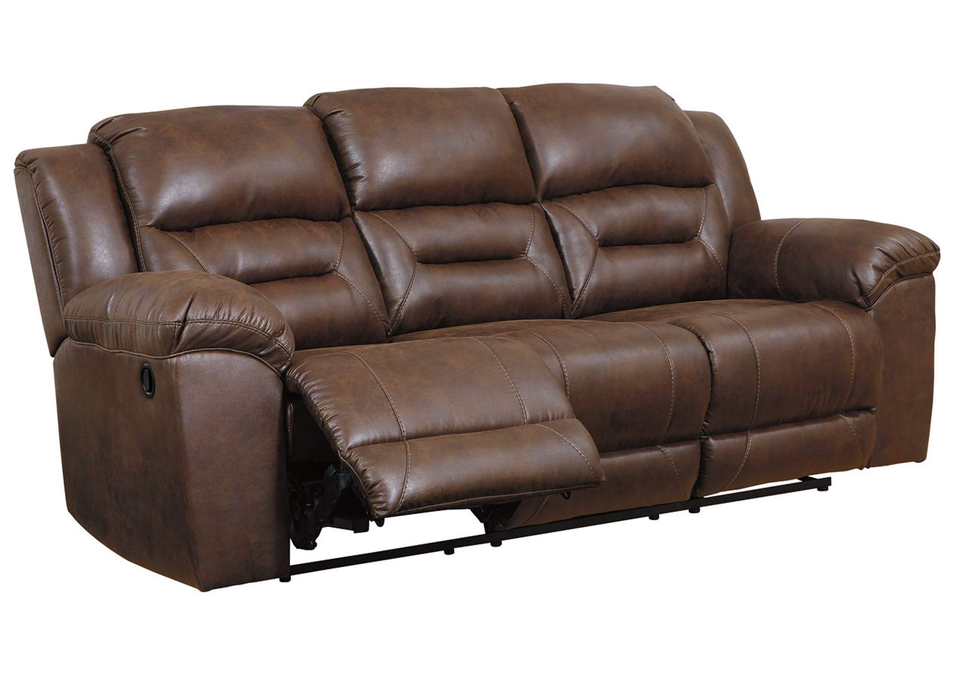 Affordable Mattress And Furniture Stoneland Brown Reclining Sofa
