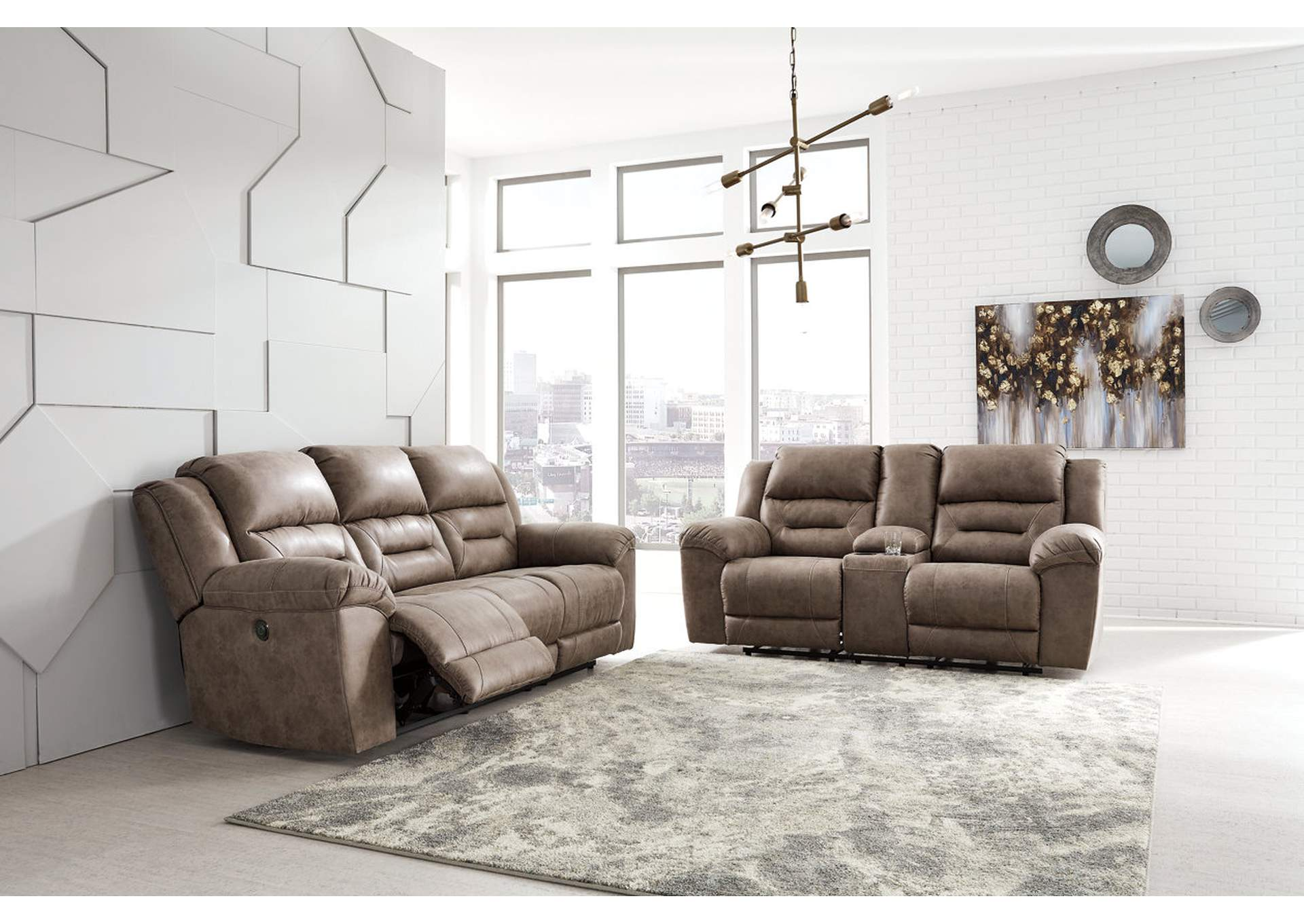 Stoneland Gray Power Reclining Sofa and Loveseat,Signature Design By Ashley