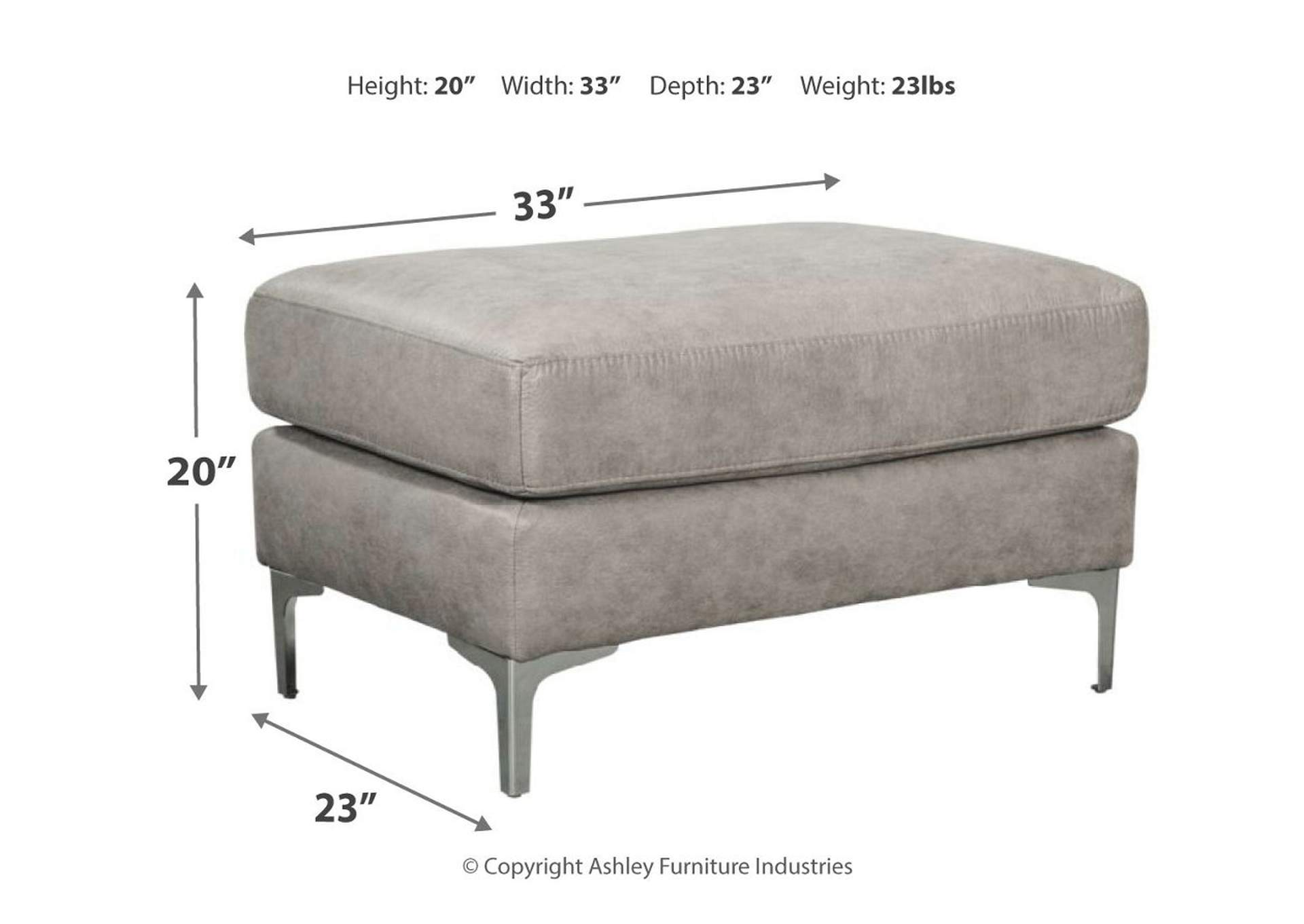 Ryler Steel Ottoman,Signature Design By Ashley