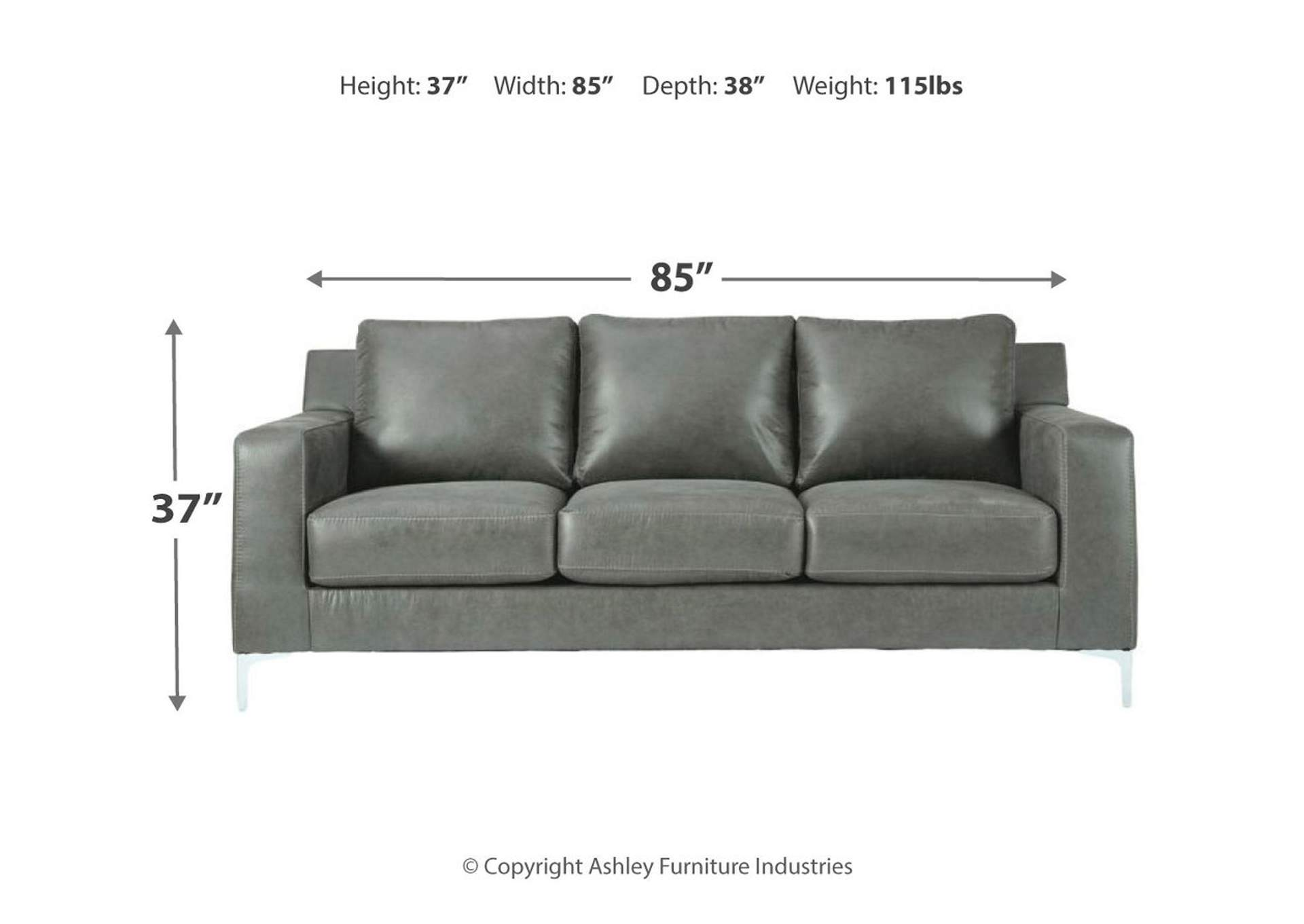 Ryler Charcoal Sofa,Signature Design By Ashley