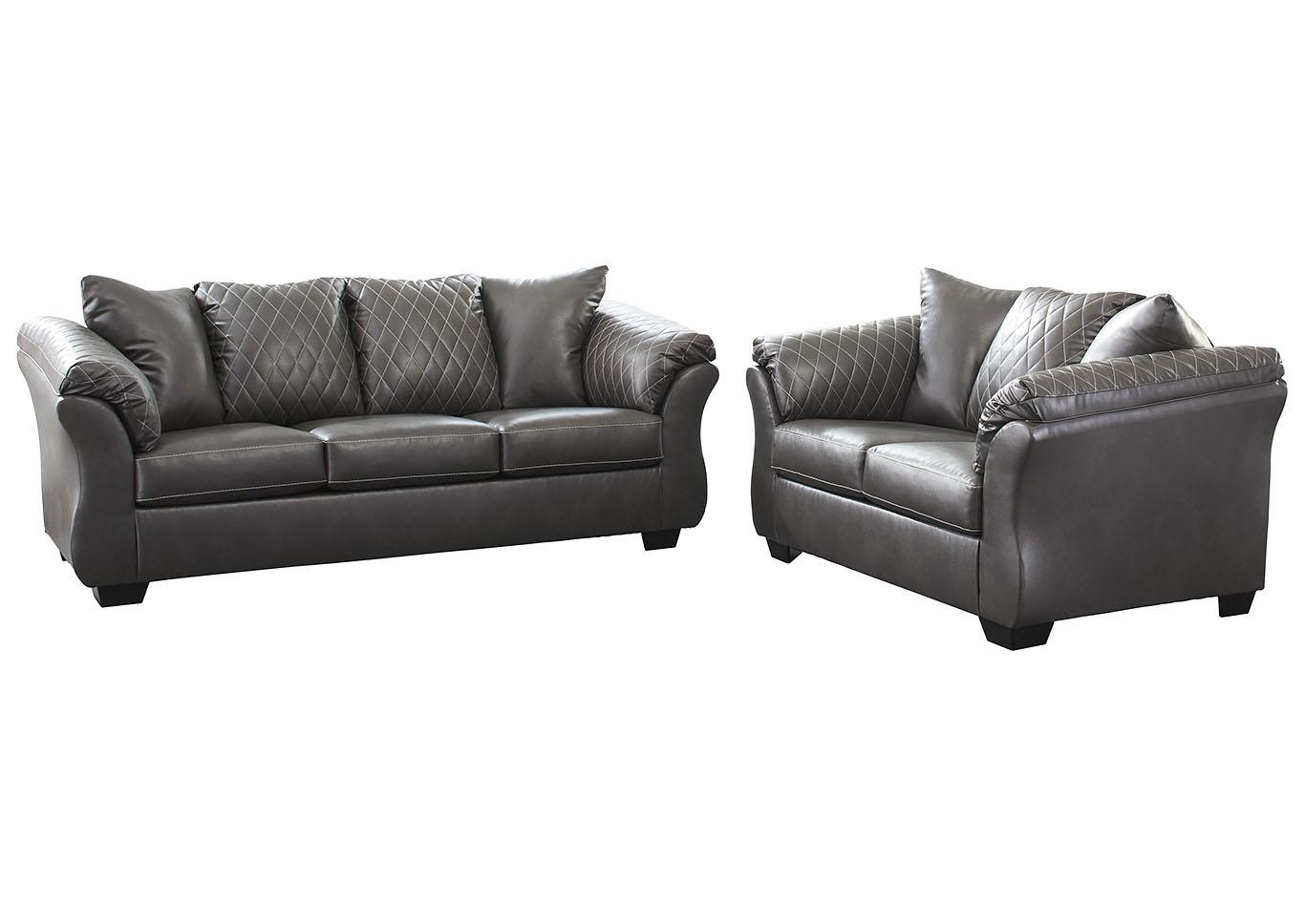 Furniture Corner CA Betrillo Gray Sofa & Loveseat