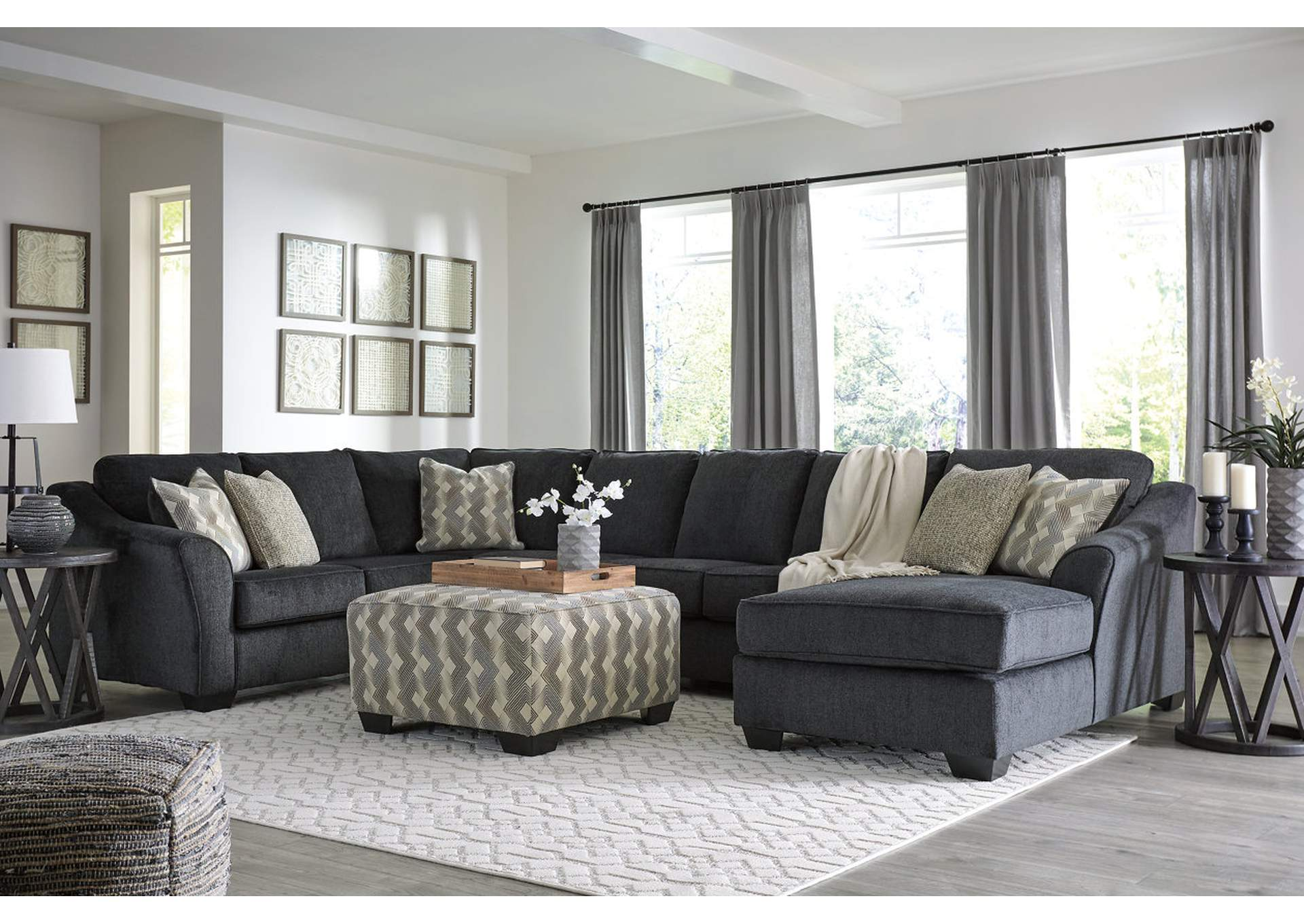 Eltmann Slate RAF Chaise Sectional,Signature Design By Ashley
