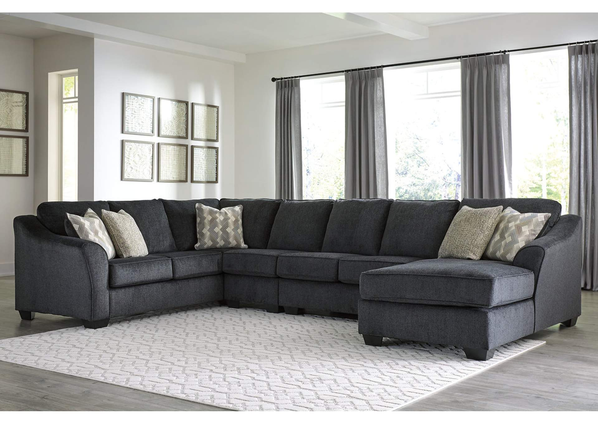 Eltmann Slate RAF Chaise Extended Sectional,Signature Design By Ashley