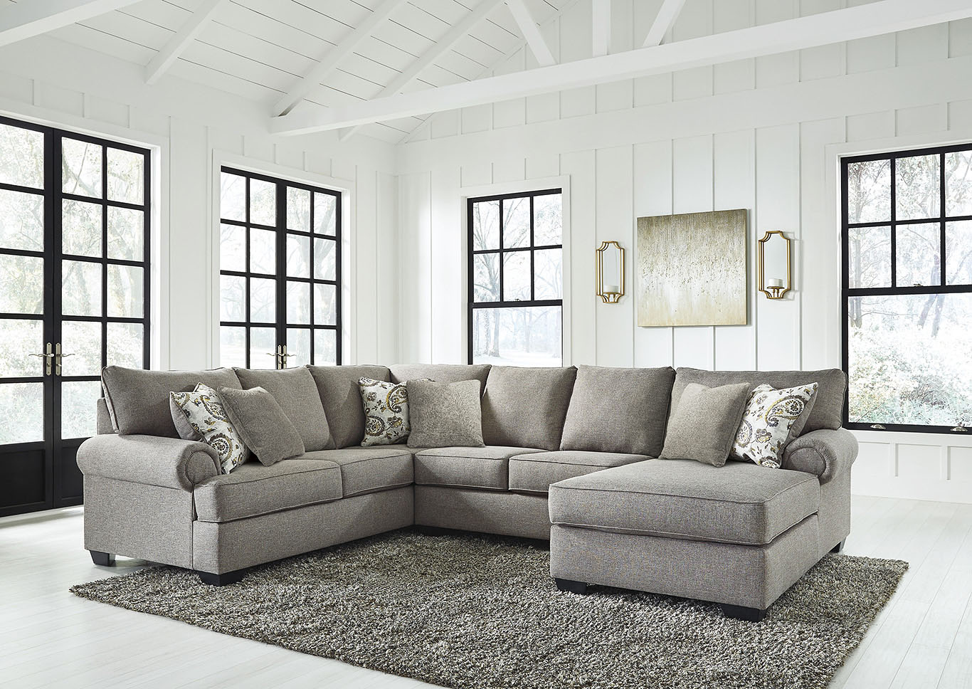 Renchen Pewter RAF Chaise Sectional,Signature Design By Ashley