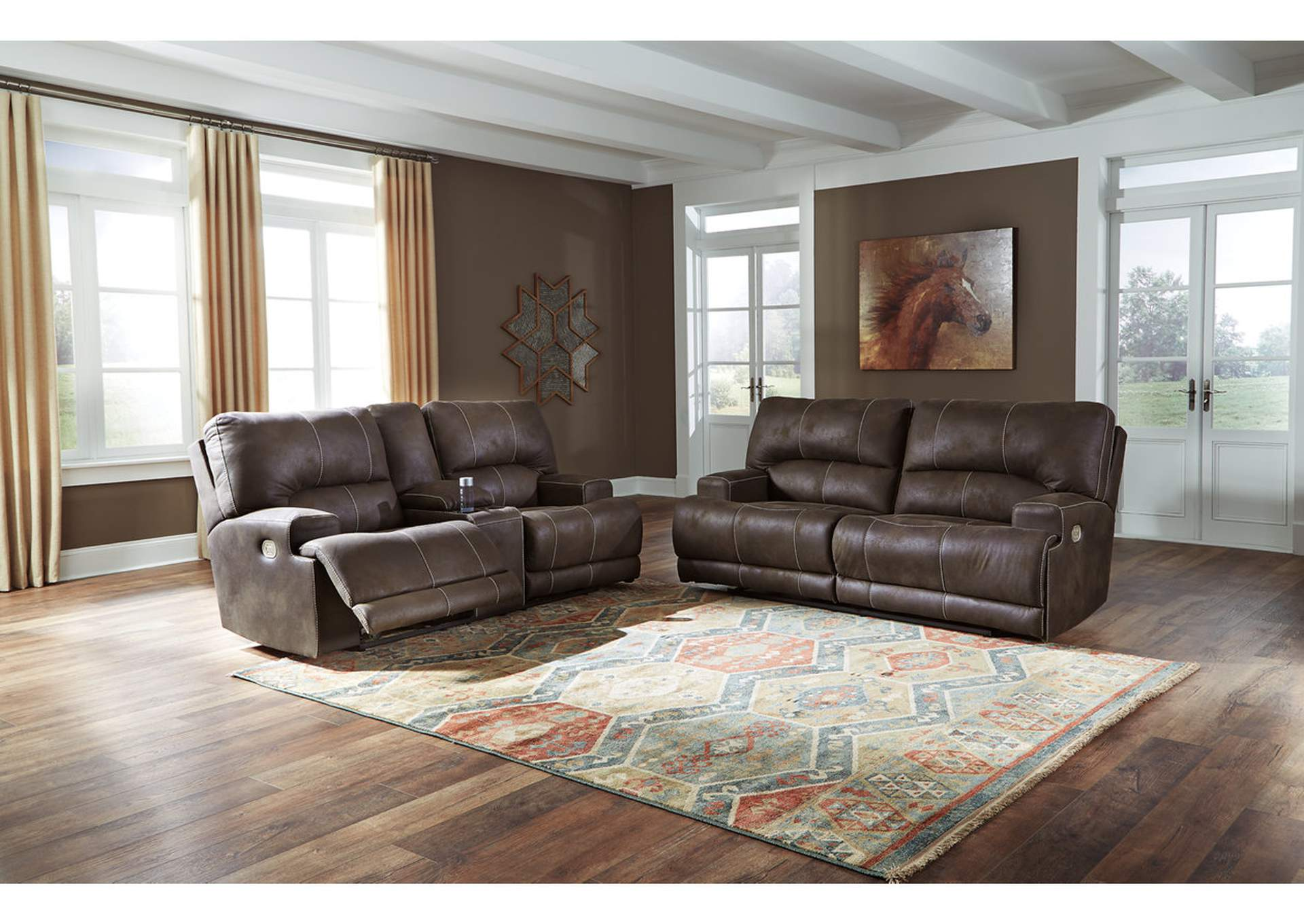 Kitching Java Power Reclining Sofa and Loveseat,Signature Design By Ashley