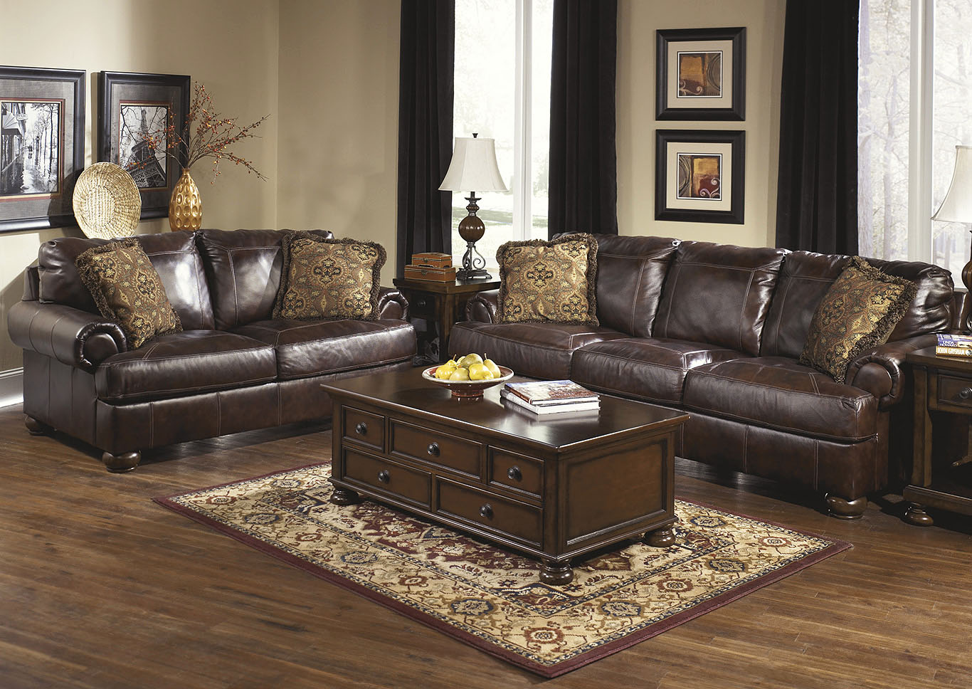 Axiom Walnut Sofa & Loveseat,Signature Design By Ashley
