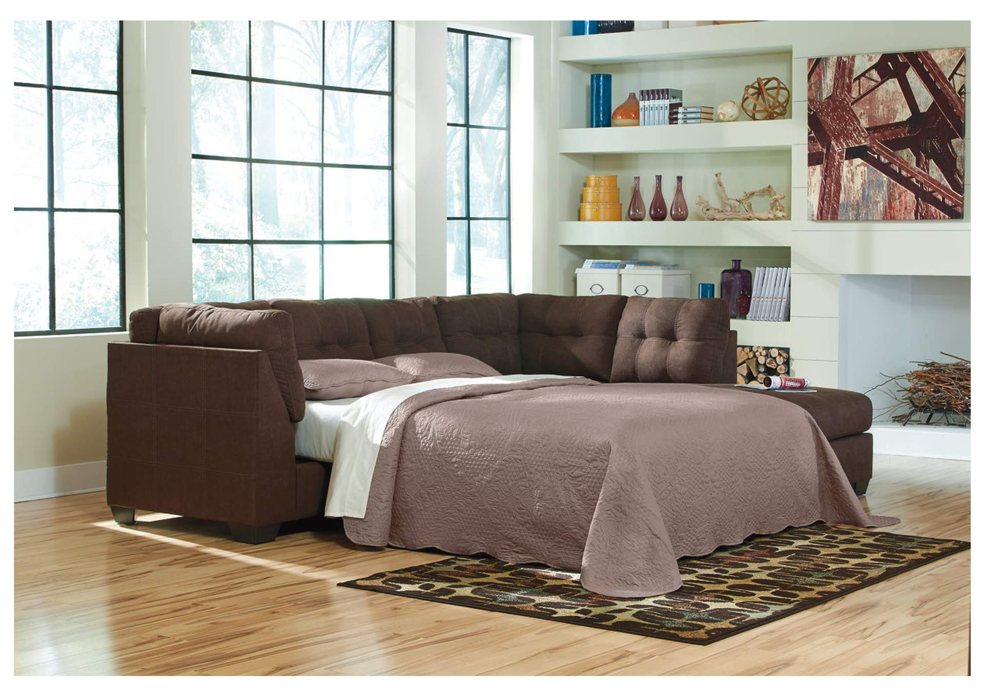 Maier Walnut Right Arm Facing Chaise End Sleeper Sectional,Benchcraft